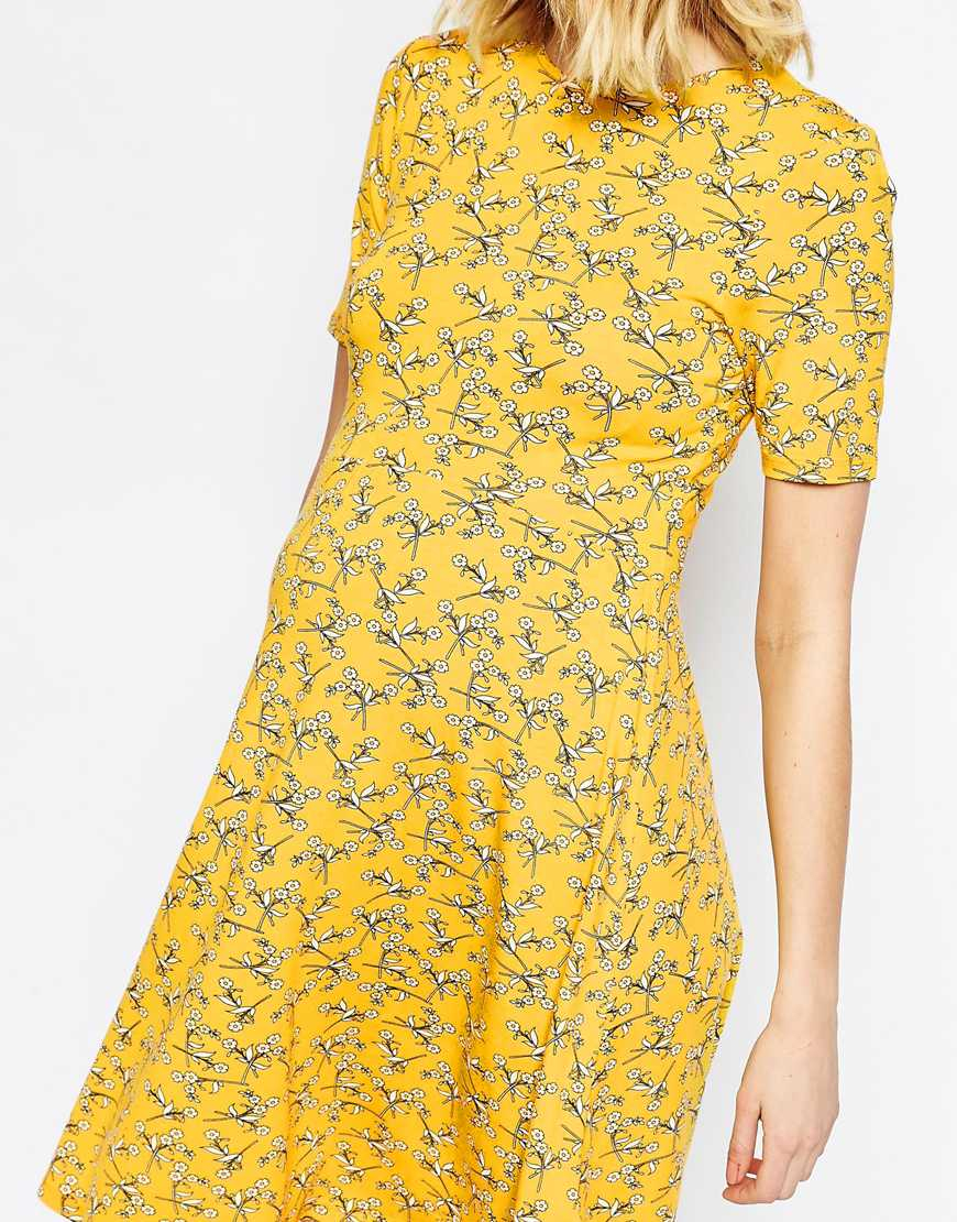 fa831320b9 ASOS Skater Dress In Chartreuse Floral Print - Multi - Lyst