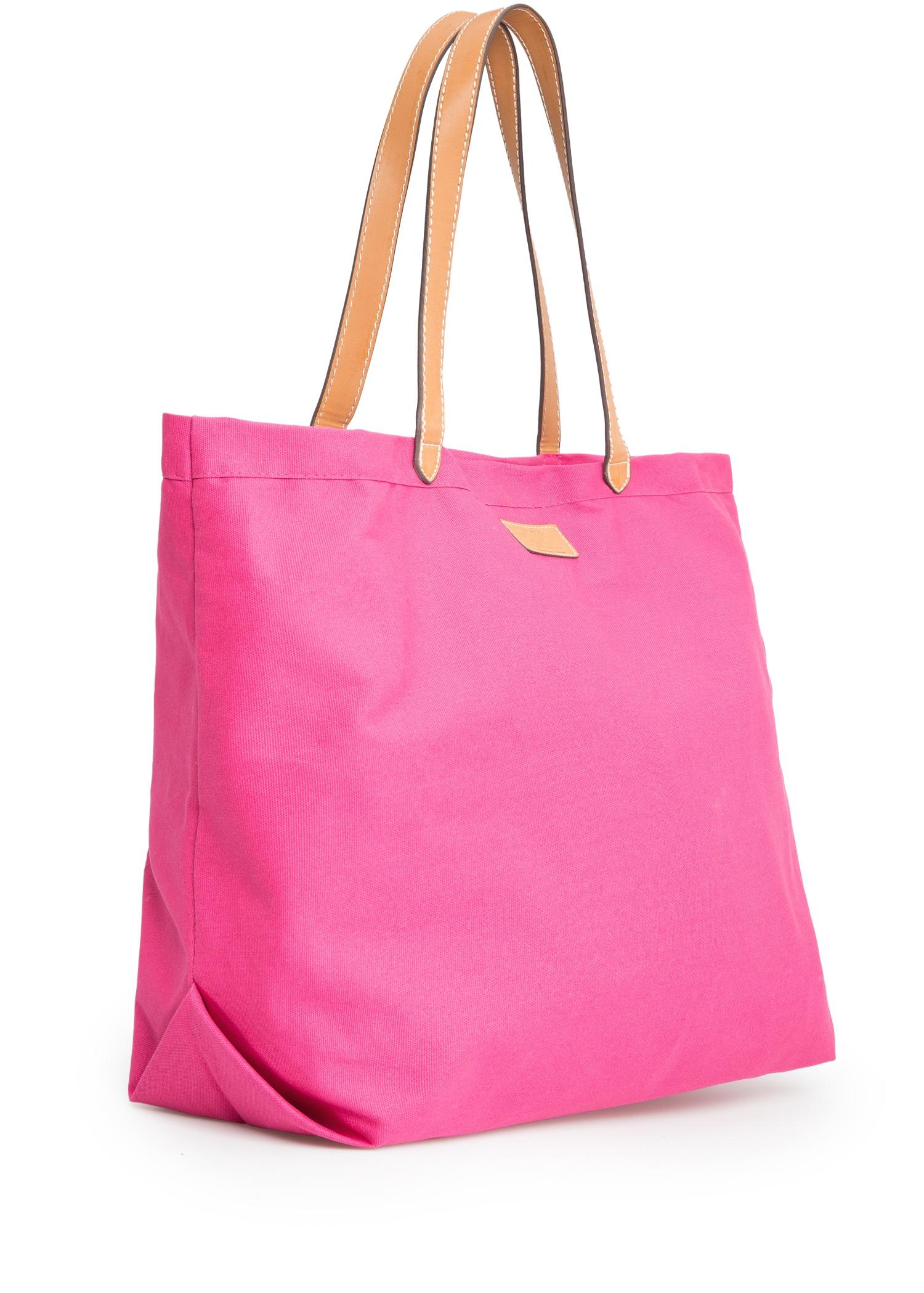 Mango Canvas Shopper Bag in Pink | Lyst