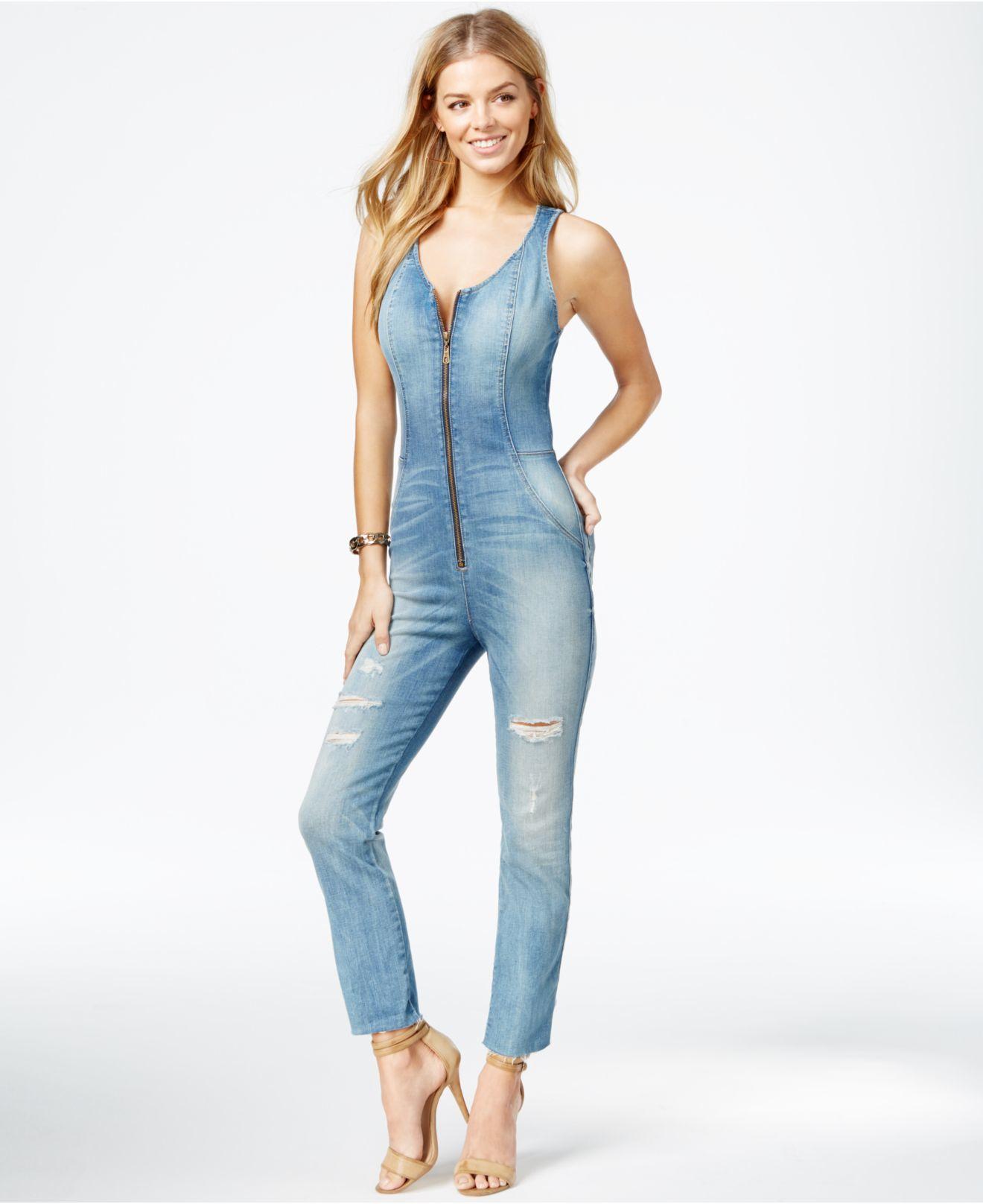 4372a7559a3 Lyst guess chiara ripped denim jumpsuit in blue jpg 1320x1616 Zippered denim  jumpsuit