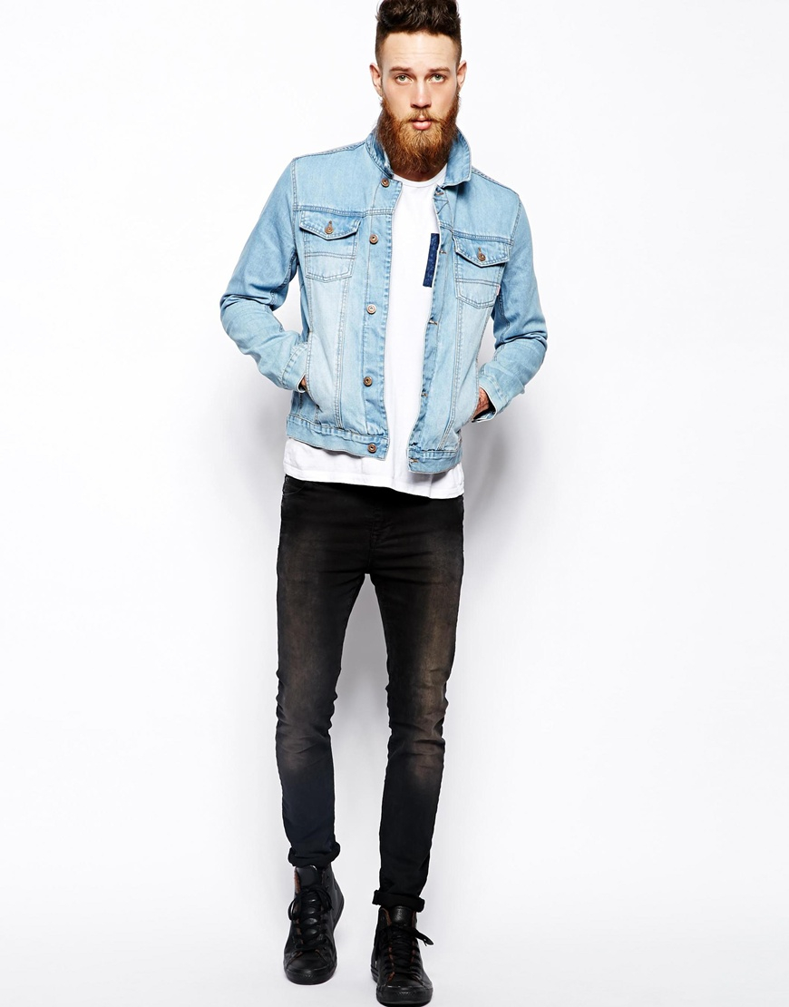 Asos Denim Jacket with Bleach Wash in Blue for Men | Lyst