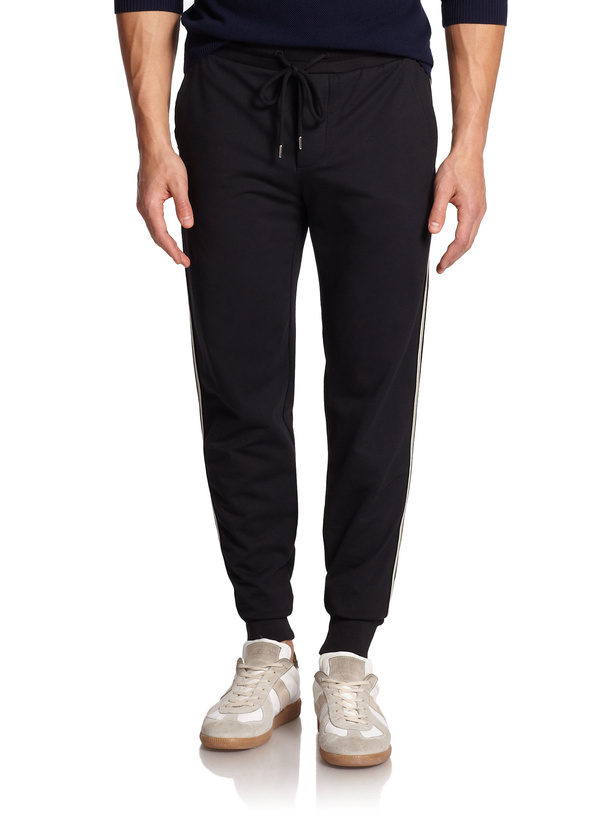Lyst Moncler Striped Jogger Pants In Black