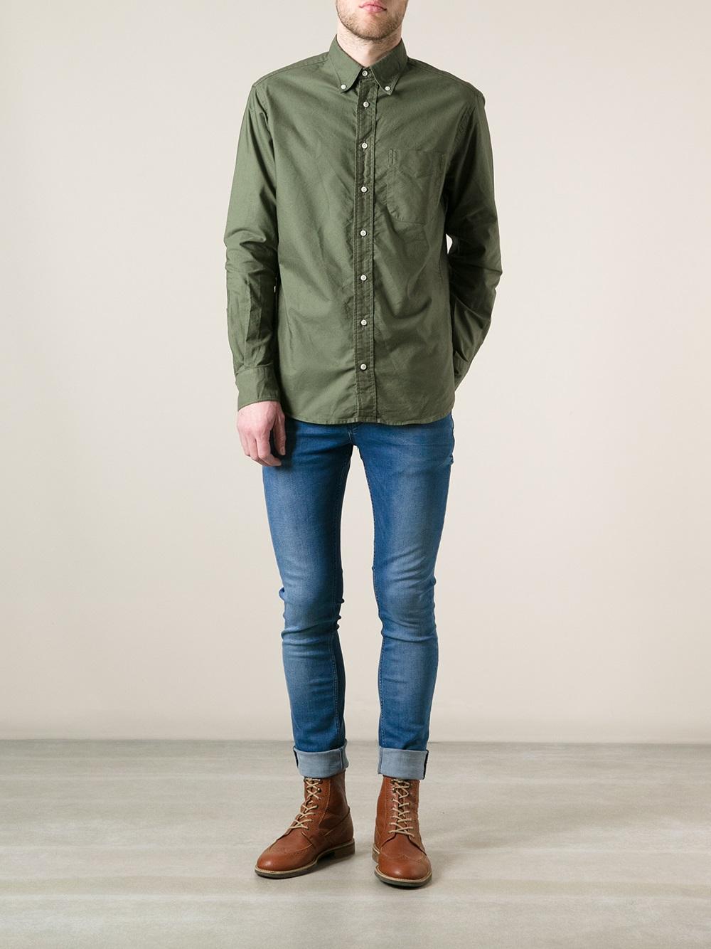 Lyst - Gitman bros Button Down Shirt in Green for Men