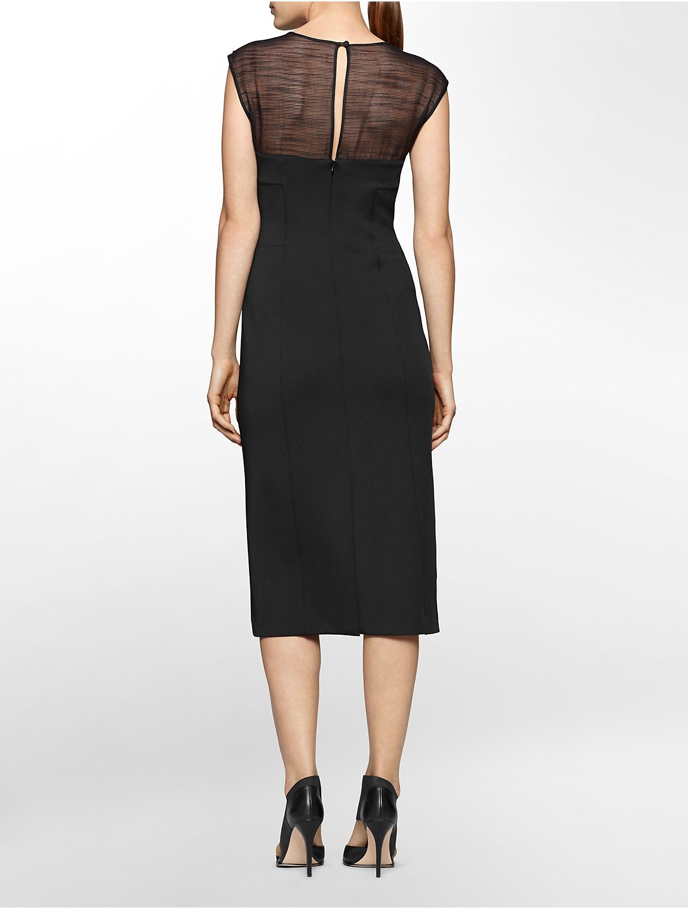 Lyst Calvin Klein White Label Illusion Neck Cap Sleeve