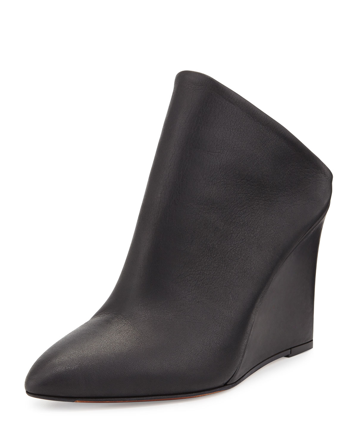 Vince Vail Leather Wedge Mule In Black Lyst