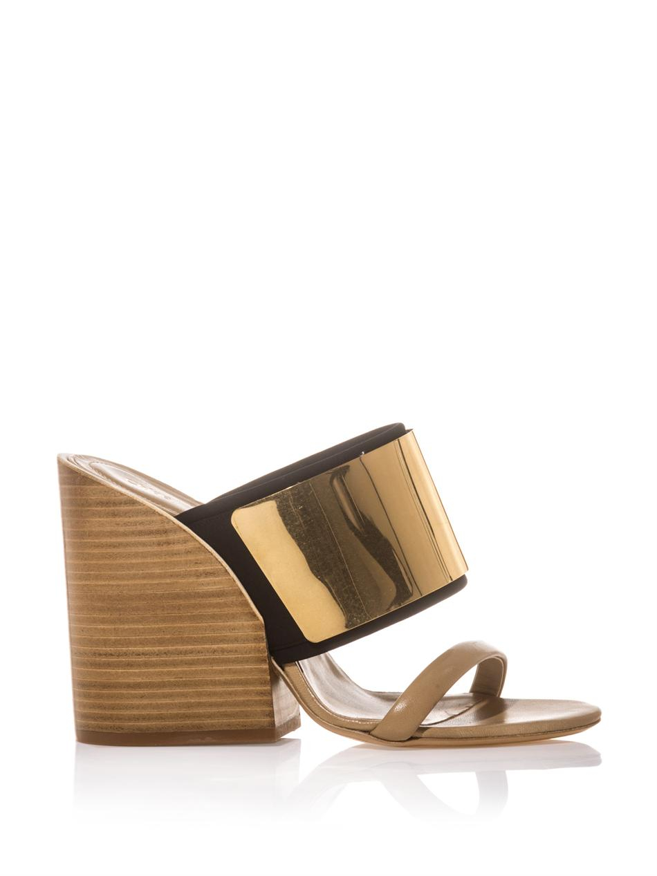 Chloé Mules leather metal block heel