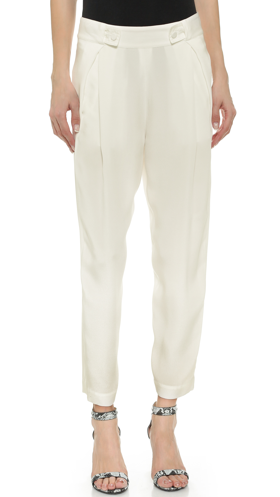 3.1 phillip lim Pinstripe Linen Carrot Pants in White (CLOUD) - Save 51% | Lyst