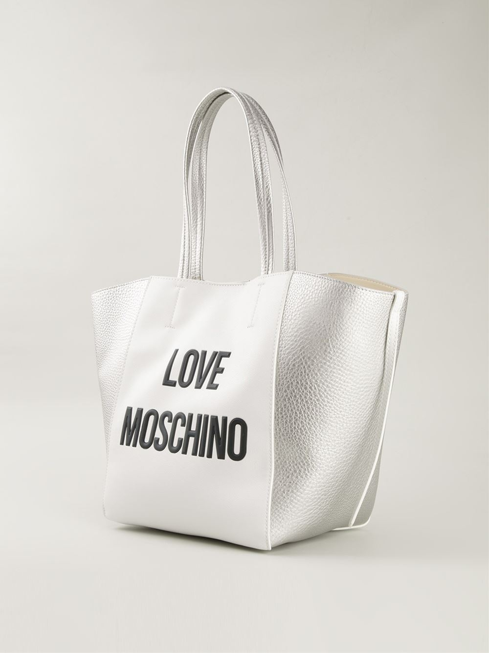 lyst love moschino 39 39 shopper in white. Black Bedroom Furniture Sets. Home Design Ideas