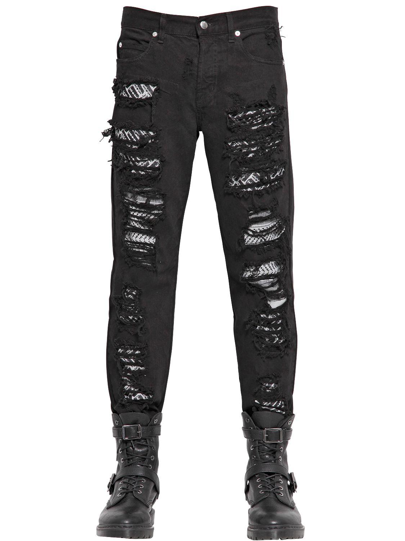 Castaluna For Men Mens Cross-Dyed Black Stretch Jeans. Sold by La Redoute. $ $ Ralph Lauren Mens Whiskered Stretch Jeans. Level 7 Men's Slim Tapered Leg Premium Stretch Denim Destroyed Moto Jeans Bleached Gray. Sold by Vibes Base Enterprises Inc. + 2. $ Dockers Men's Soft Stretch Jean Cut Pants.
