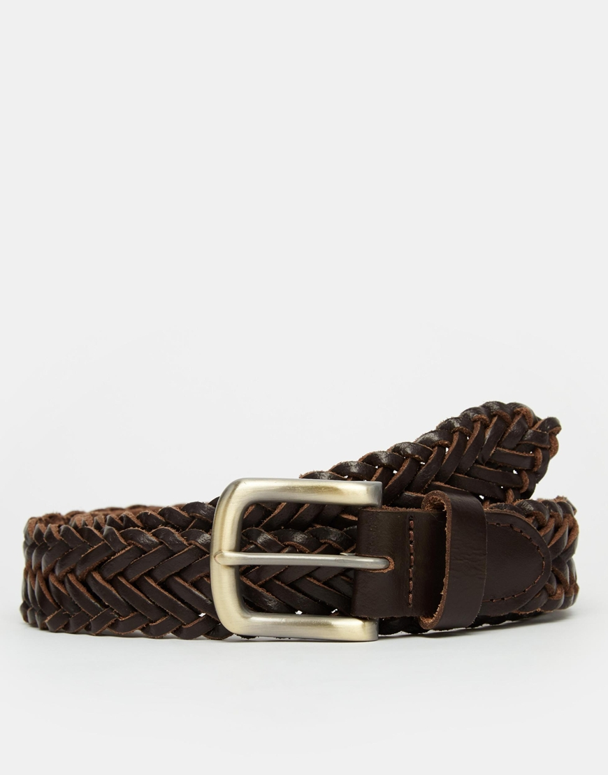 asos leather plaited belt in brown in brown for lyst