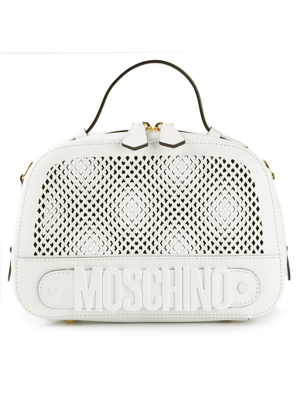 moschino small mesh bowling bag in white lyst. Black Bedroom Furniture Sets. Home Design Ideas