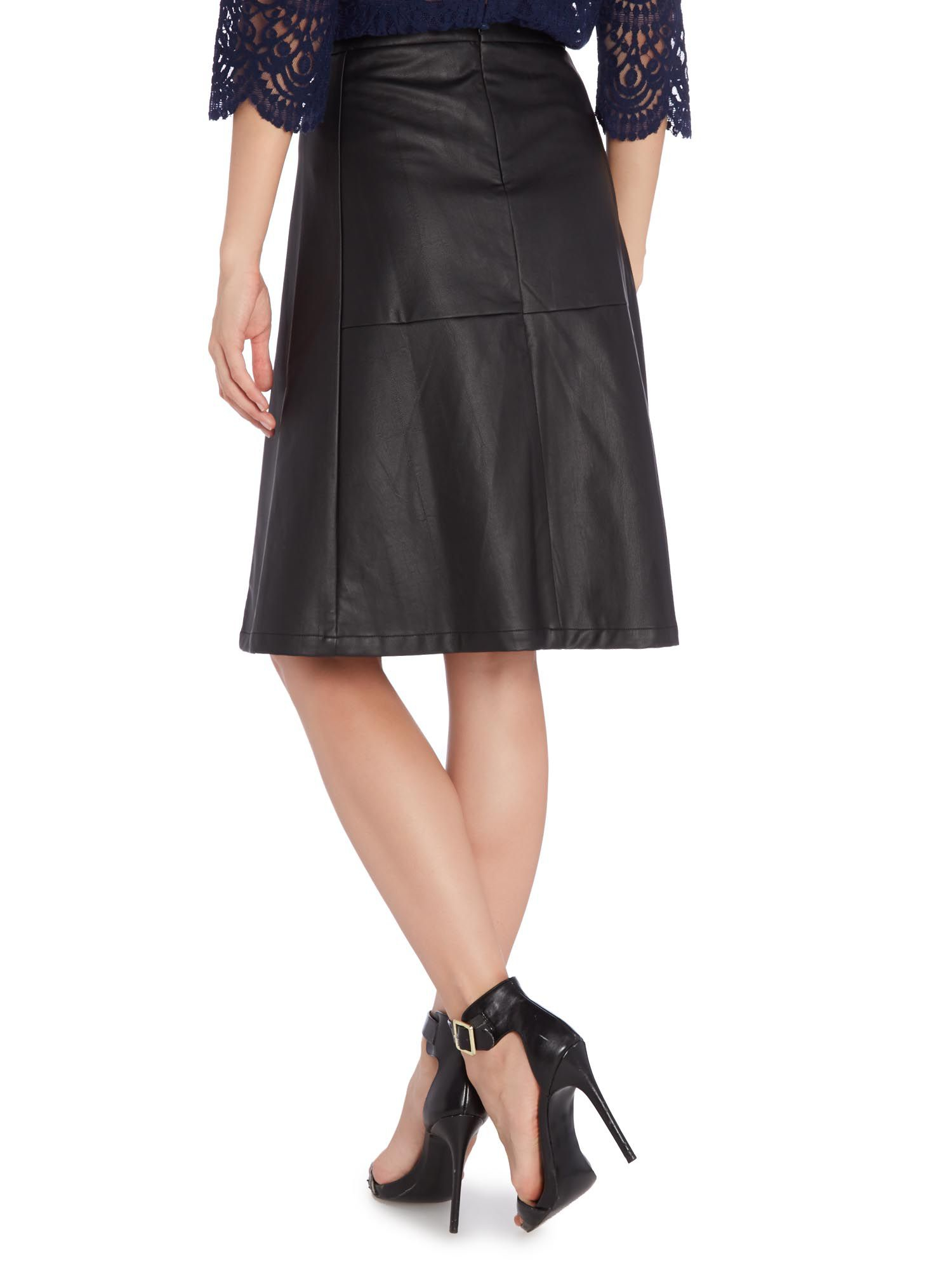 part two leather look skirt in black lyst