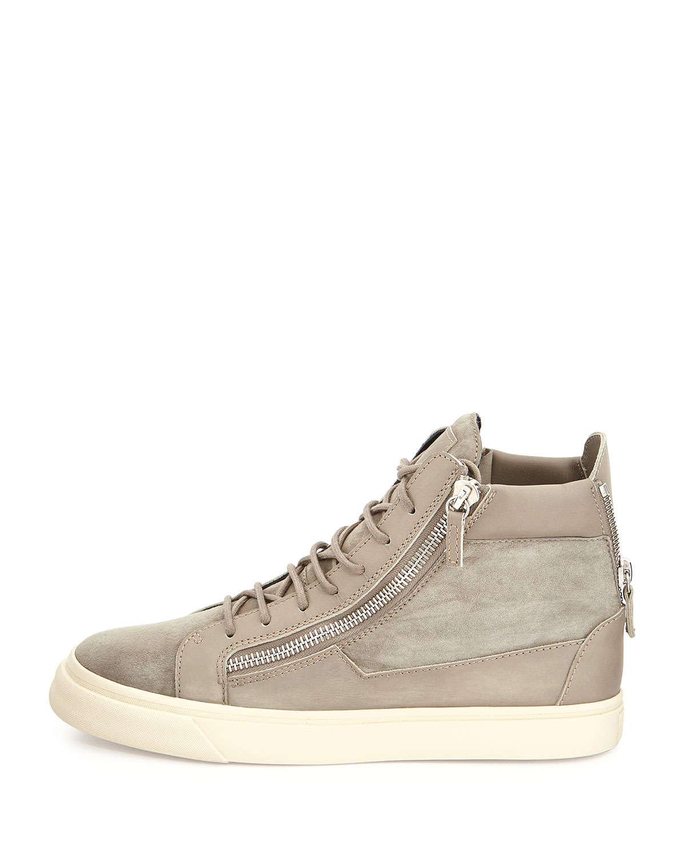giuseppe zanotti suede zip high top sneakers in
