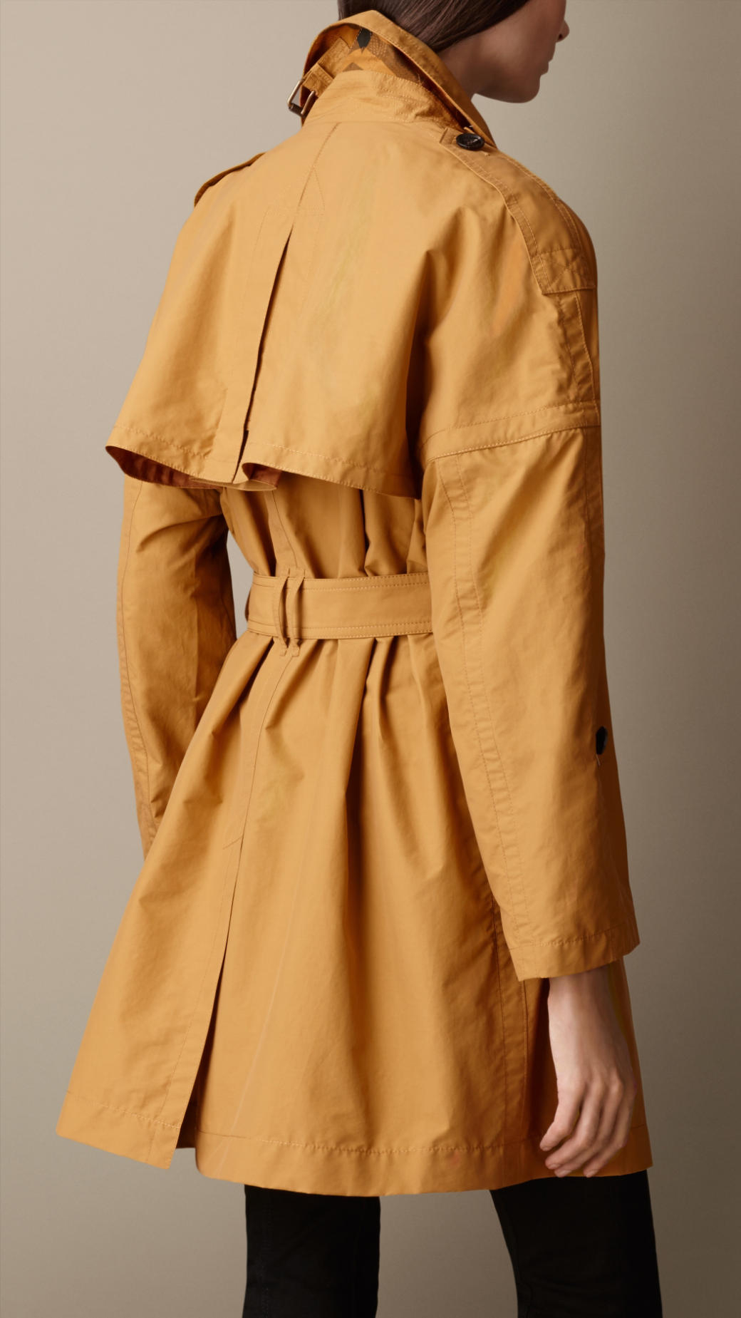 Lyst Burberry Long Dolman Sleeve Trench Coat In Yellow