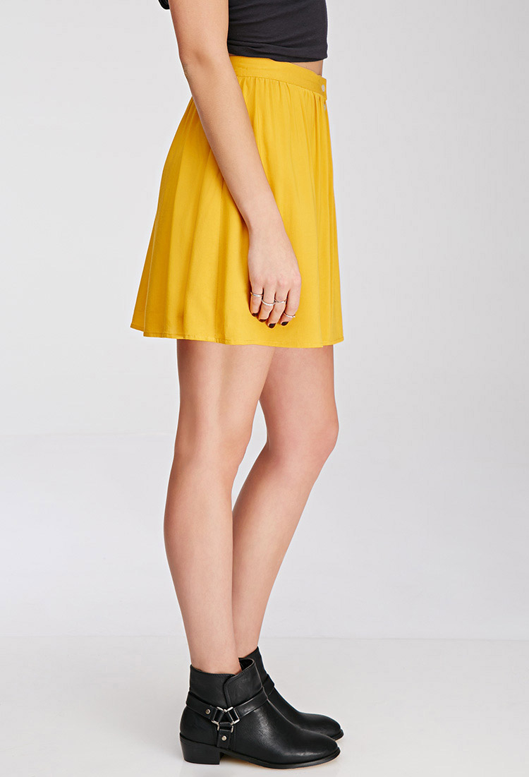 Forever 21 Button Front Mini Skirt In Yellow Lyst
