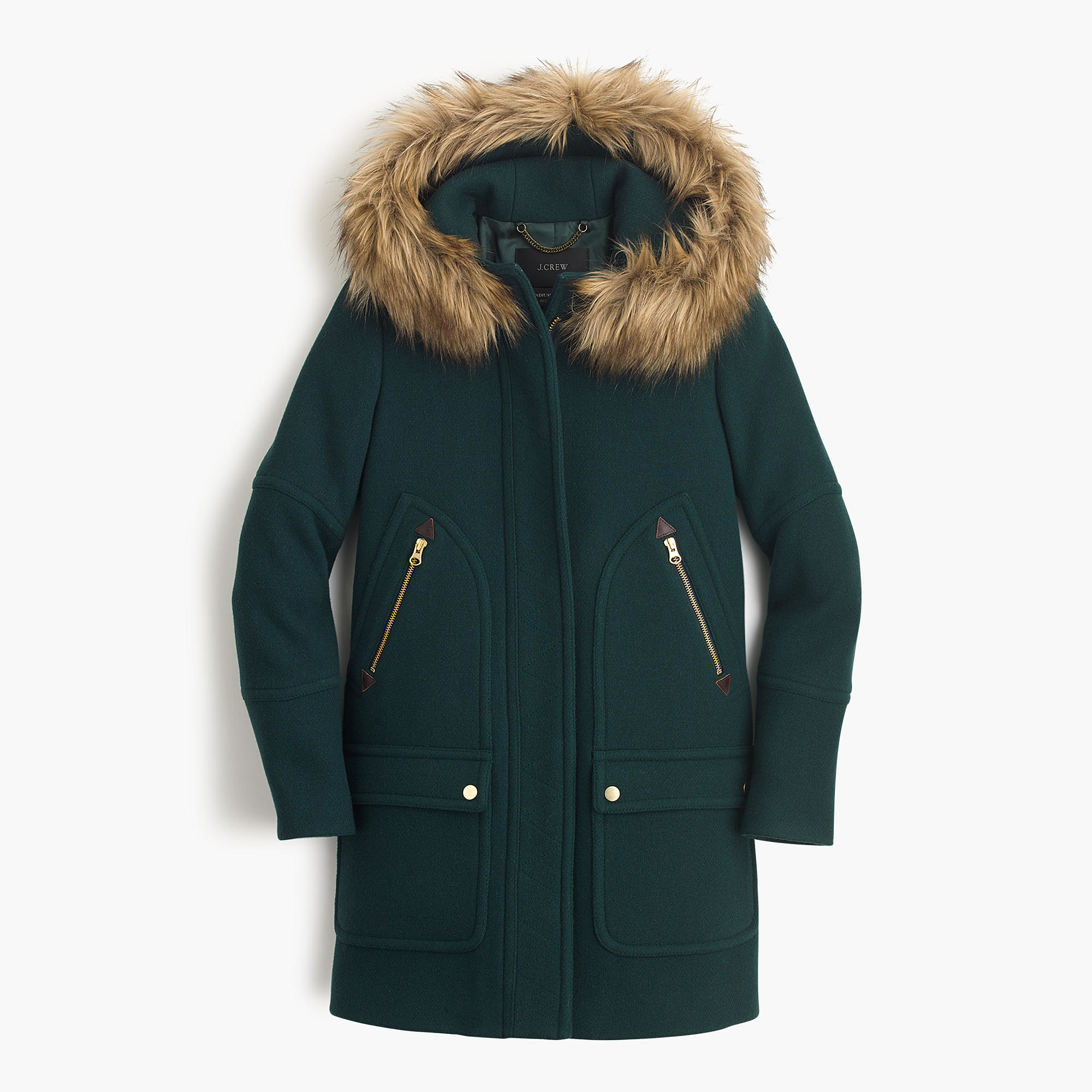 J.crew Petite Chateau Parka In Stadium-cloth in Green | Lyst