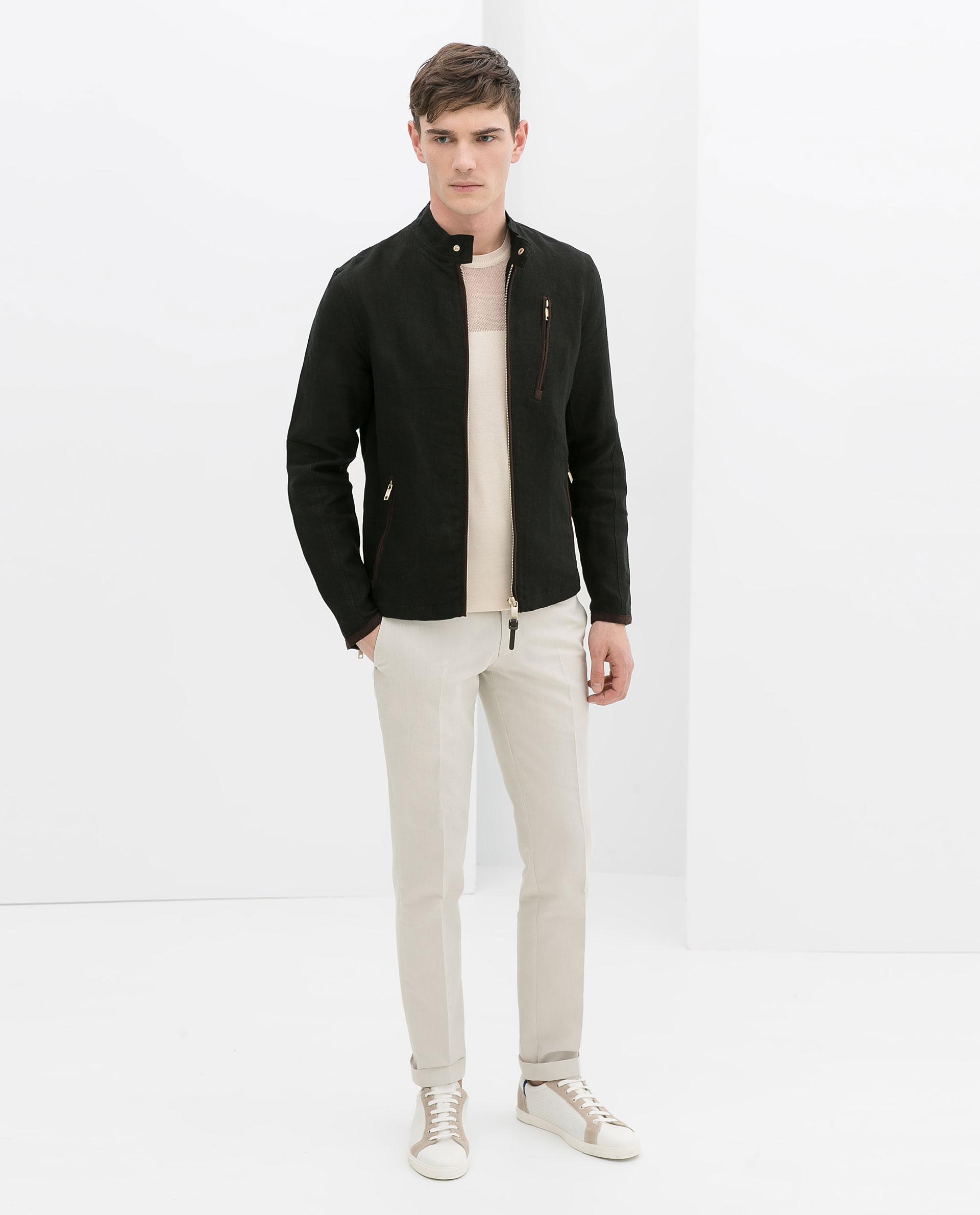 Zara Linen Jacket with Faux Suede Appliqués in Black for Men | Lyst