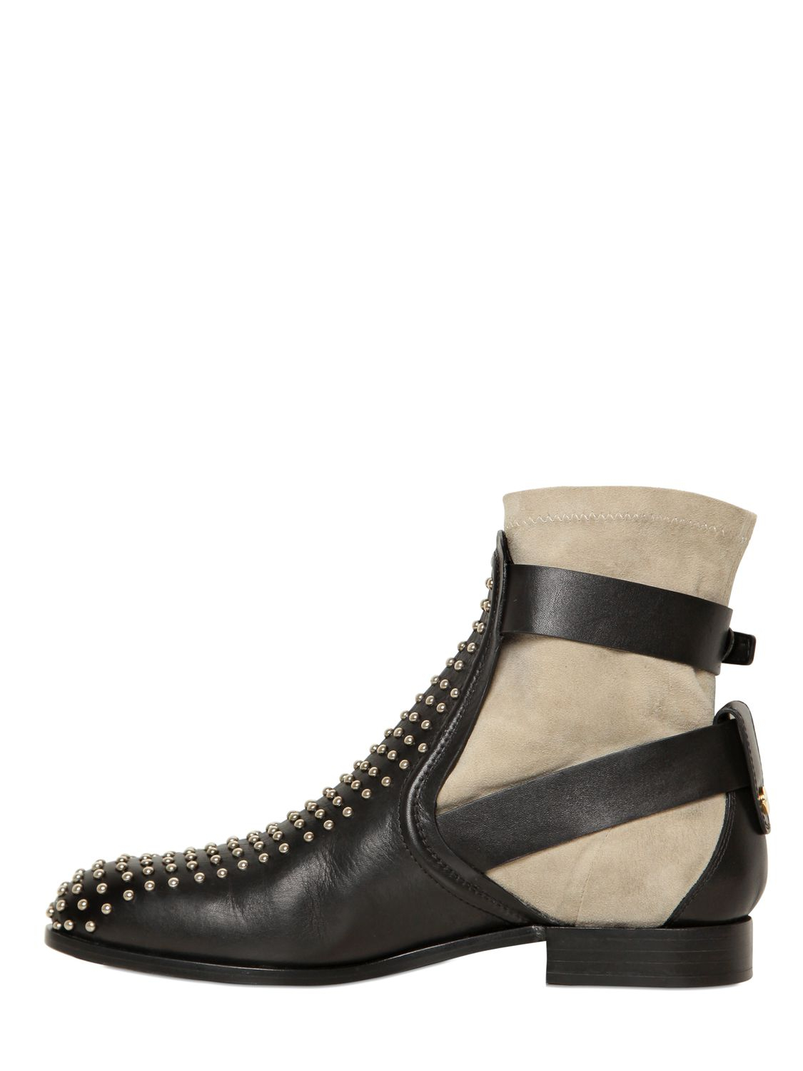 Lyst Chlo 233 30mm Studded Calfskin Boots In Black