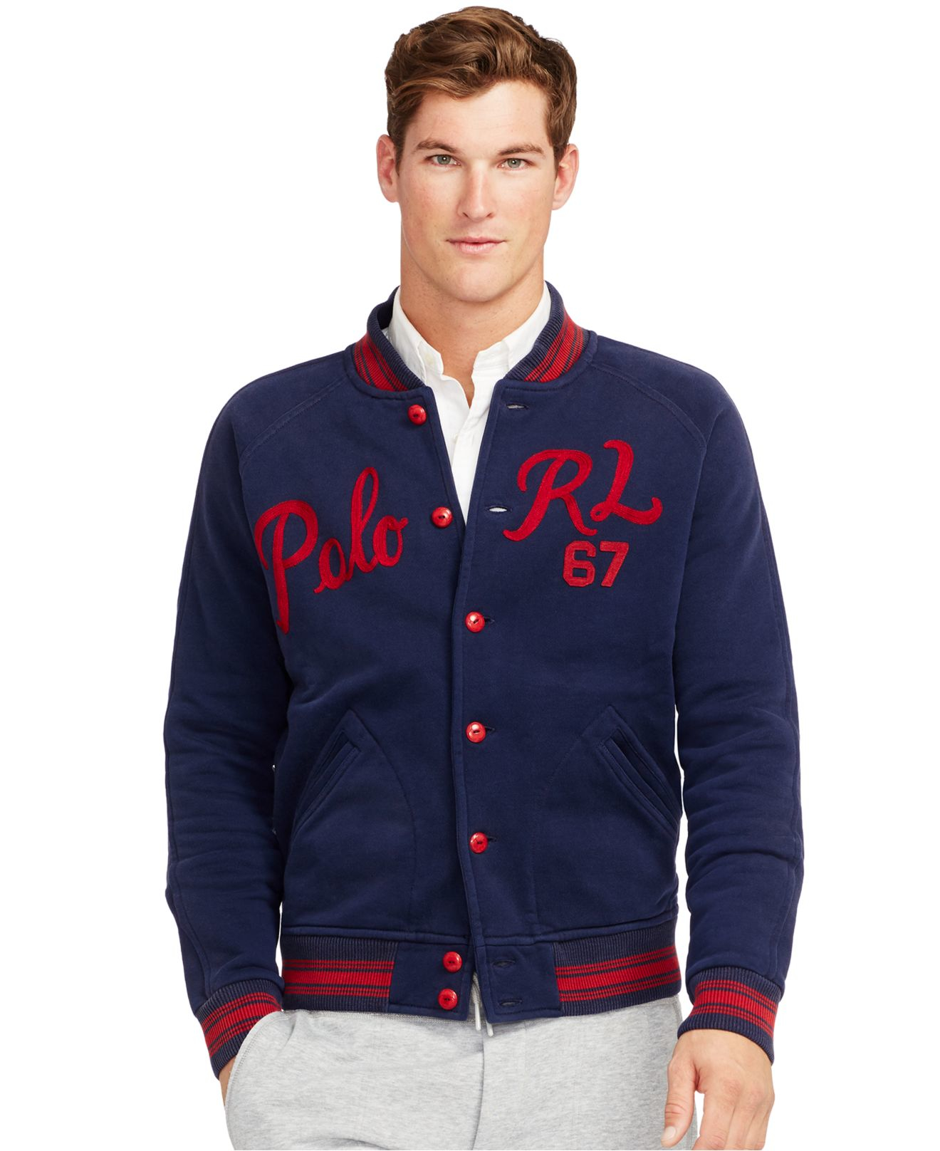 lyst polo ralph lauren fleece baseball jacket in blue. Black Bedroom Furniture Sets. Home Design Ideas