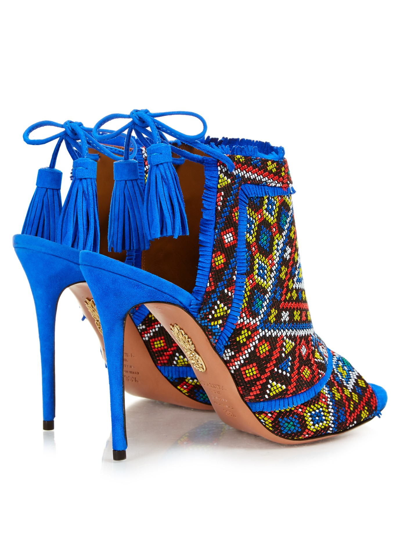 Aquazzura Beverly Hills Snakeskin Sandals In Blue Lyst