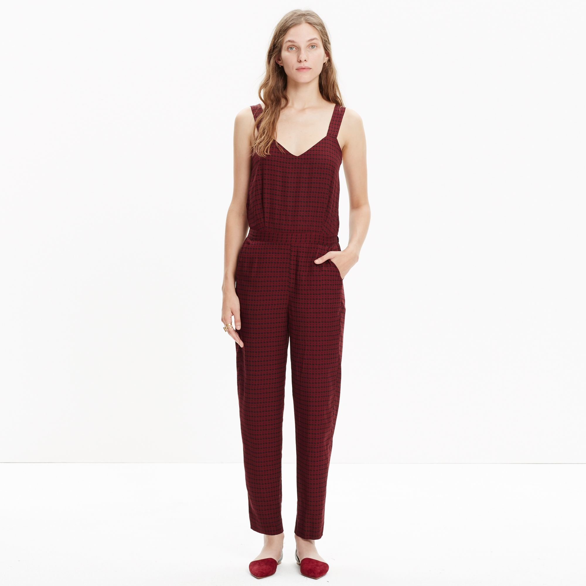 7f3b16771838 Lyst - Madewell Tompkins Tank Jumpsuit In Hashtag Stripe in Red
