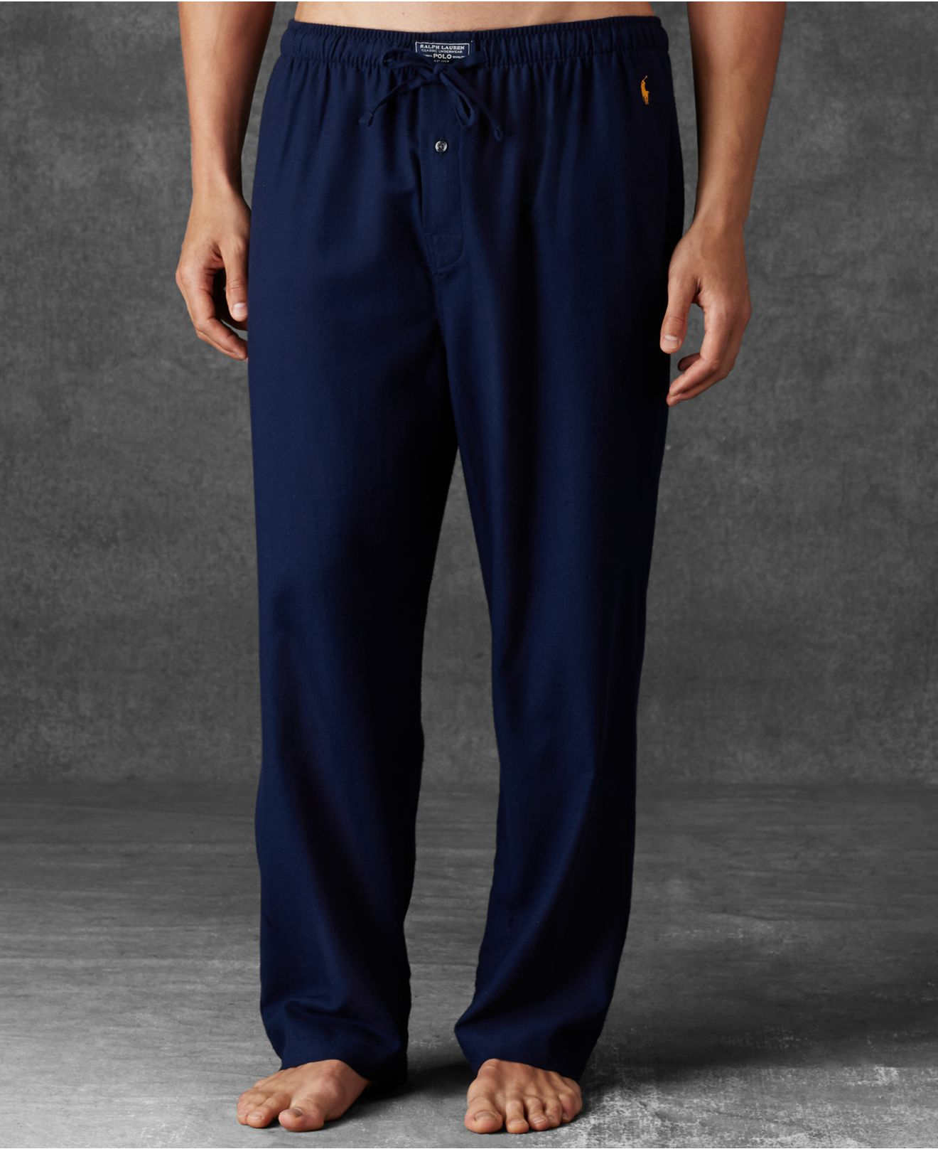 Polo Ralph Flannel Blue Men's For Lauren Solid Men Pants Pajama xBreWdCo