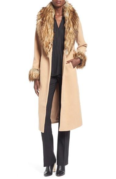 Lyst Missguided Faux Fur Trim Wrap Coat In Natural