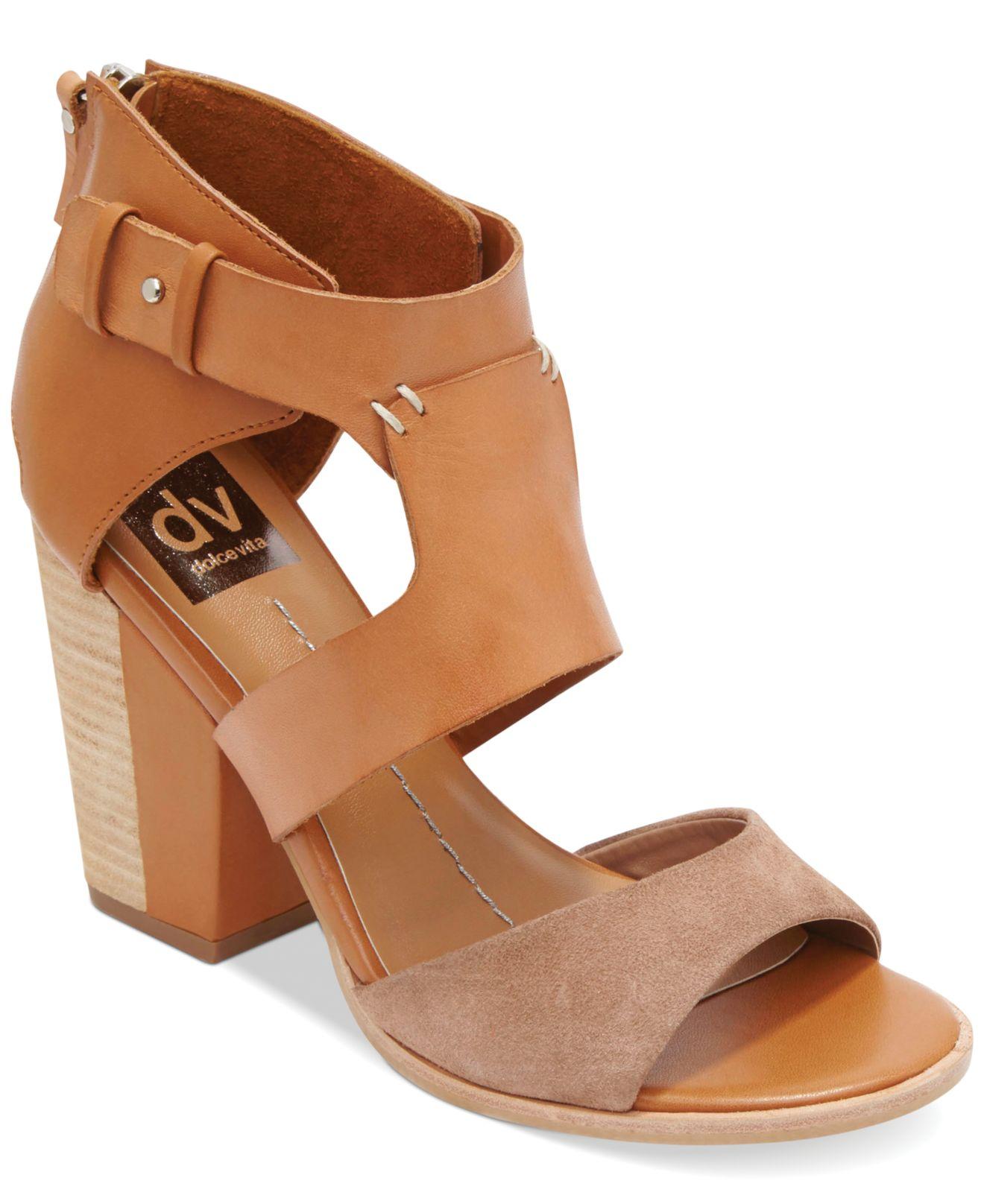 Dolce Vita Womens Noles Heeled Sandal, Black Leather