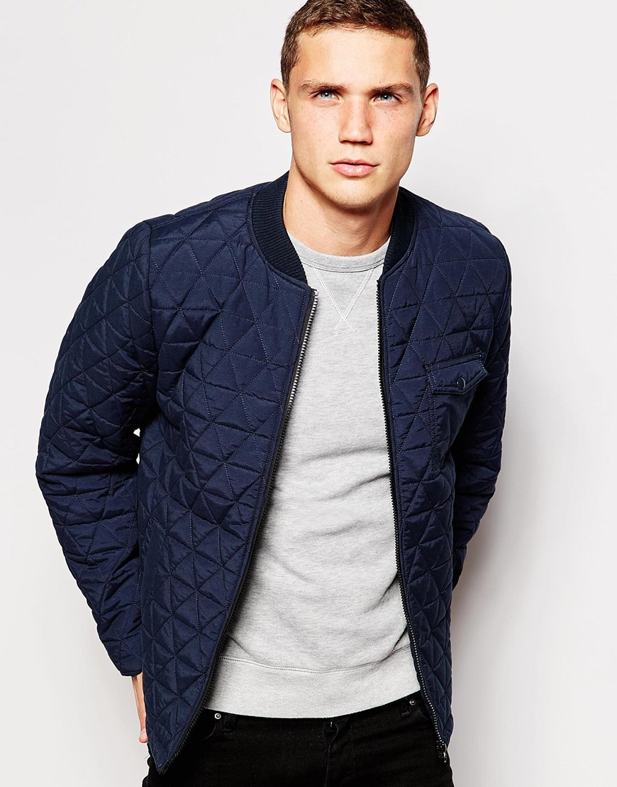 e15c045e3 Another Influence Blue Quilted Bomber Jacket for men