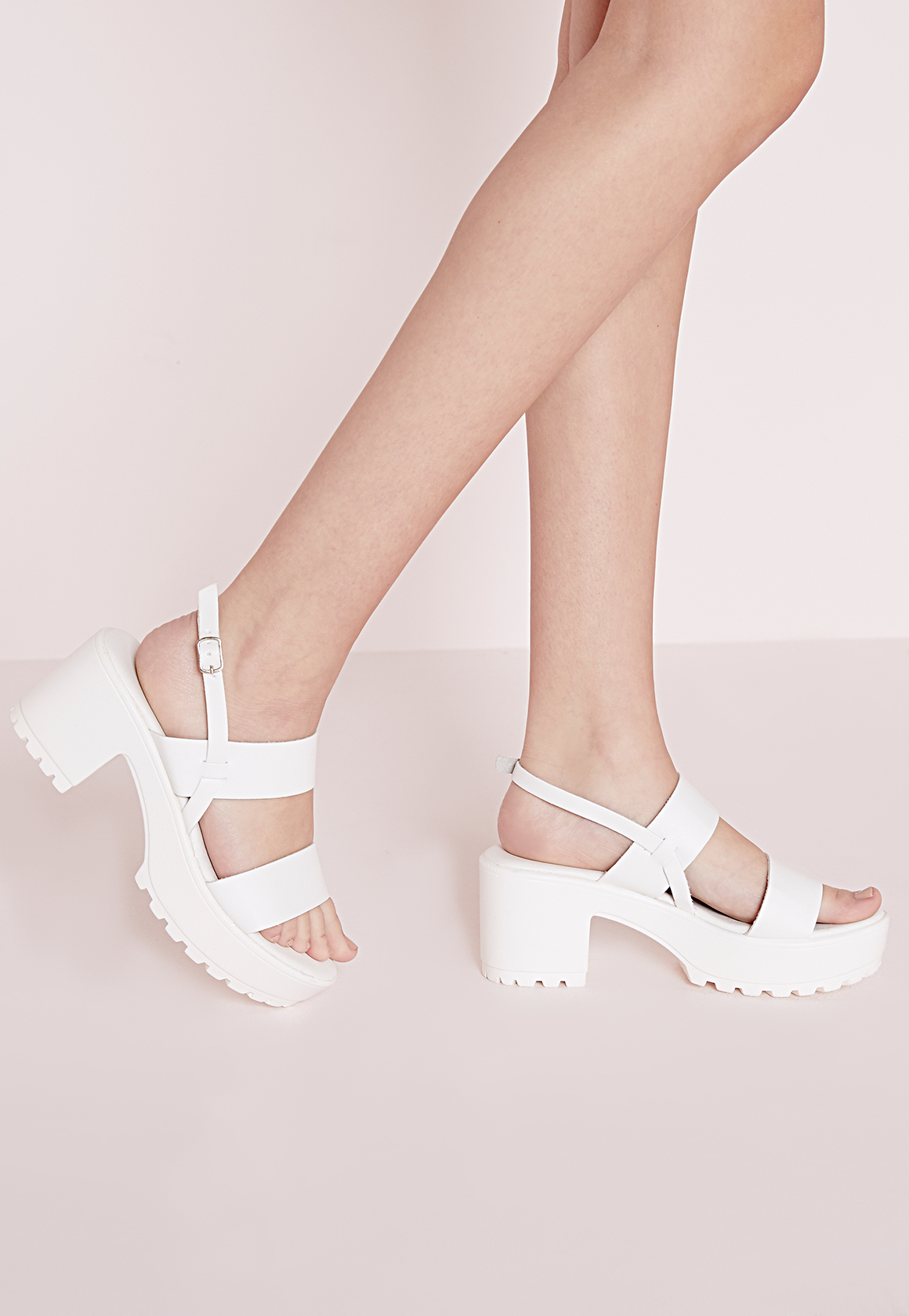 413a8714ec60ae Lyst - Missguided Chunky Cleated Strappy Sandals White in White