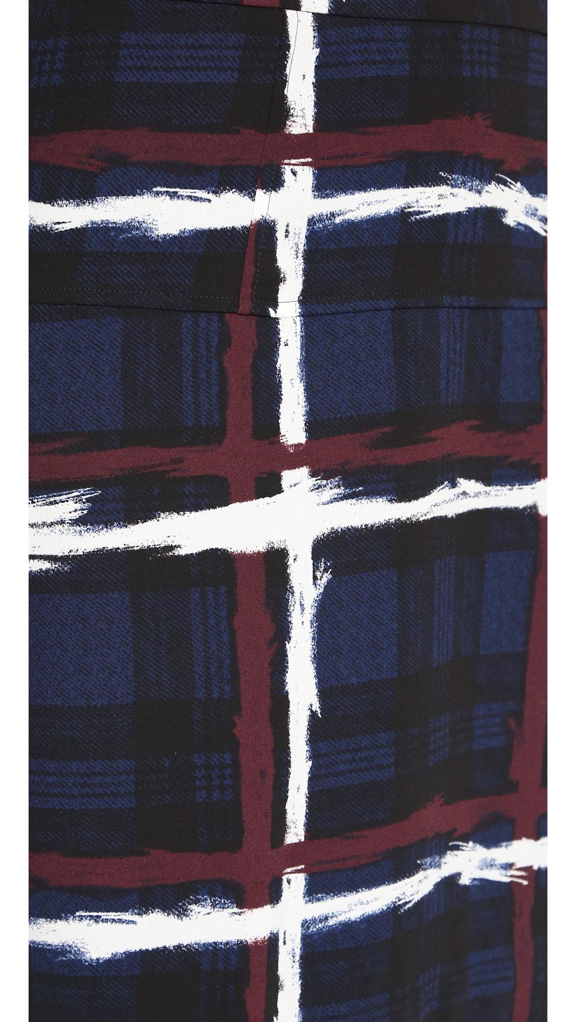 Marc By Marc Jacobs Chalky Tartan Crepe Skirt - Gettysburg Blue Multi