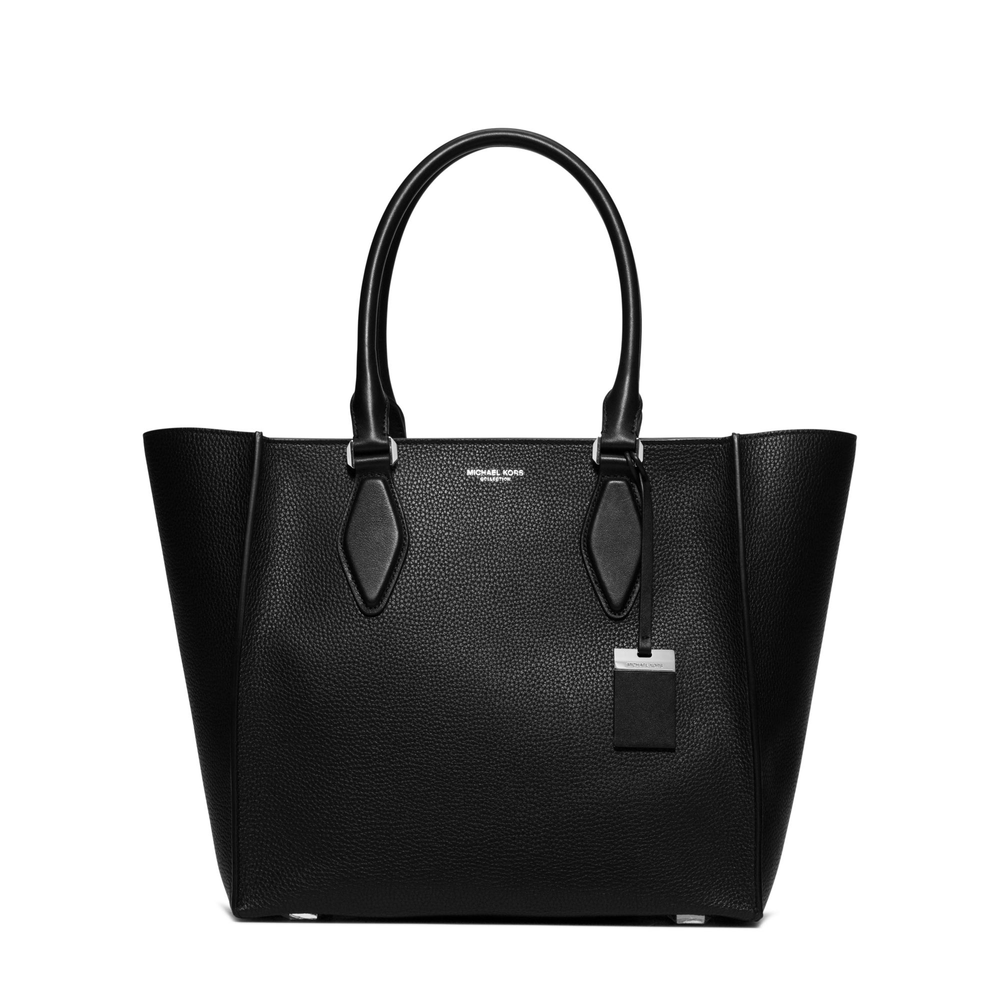michael kors gracie large leather tote in black lyst. Black Bedroom Furniture Sets. Home Design Ideas