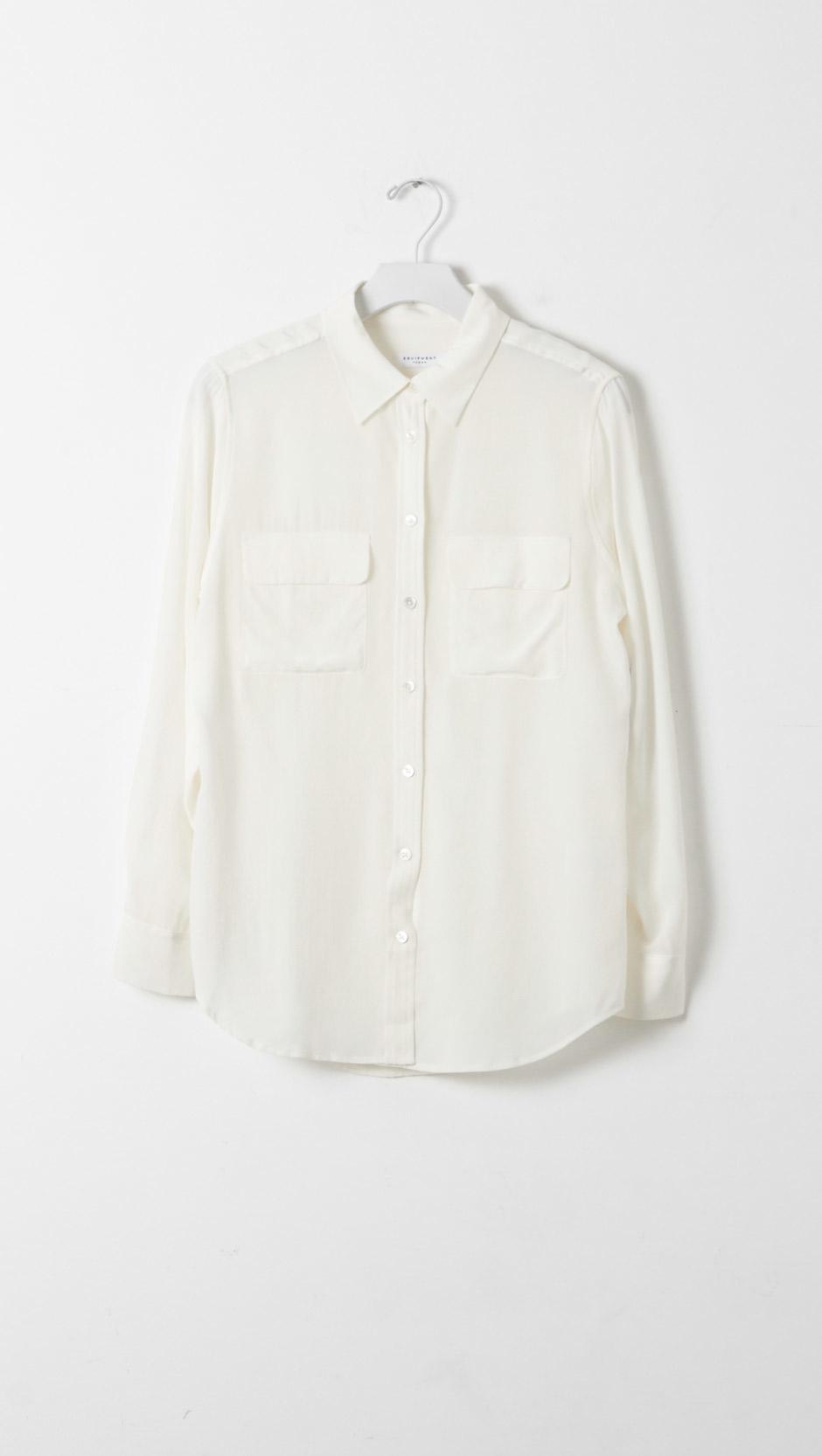 Equipment slim signature silk blouse in white lyst for Equipment signature silk shirt