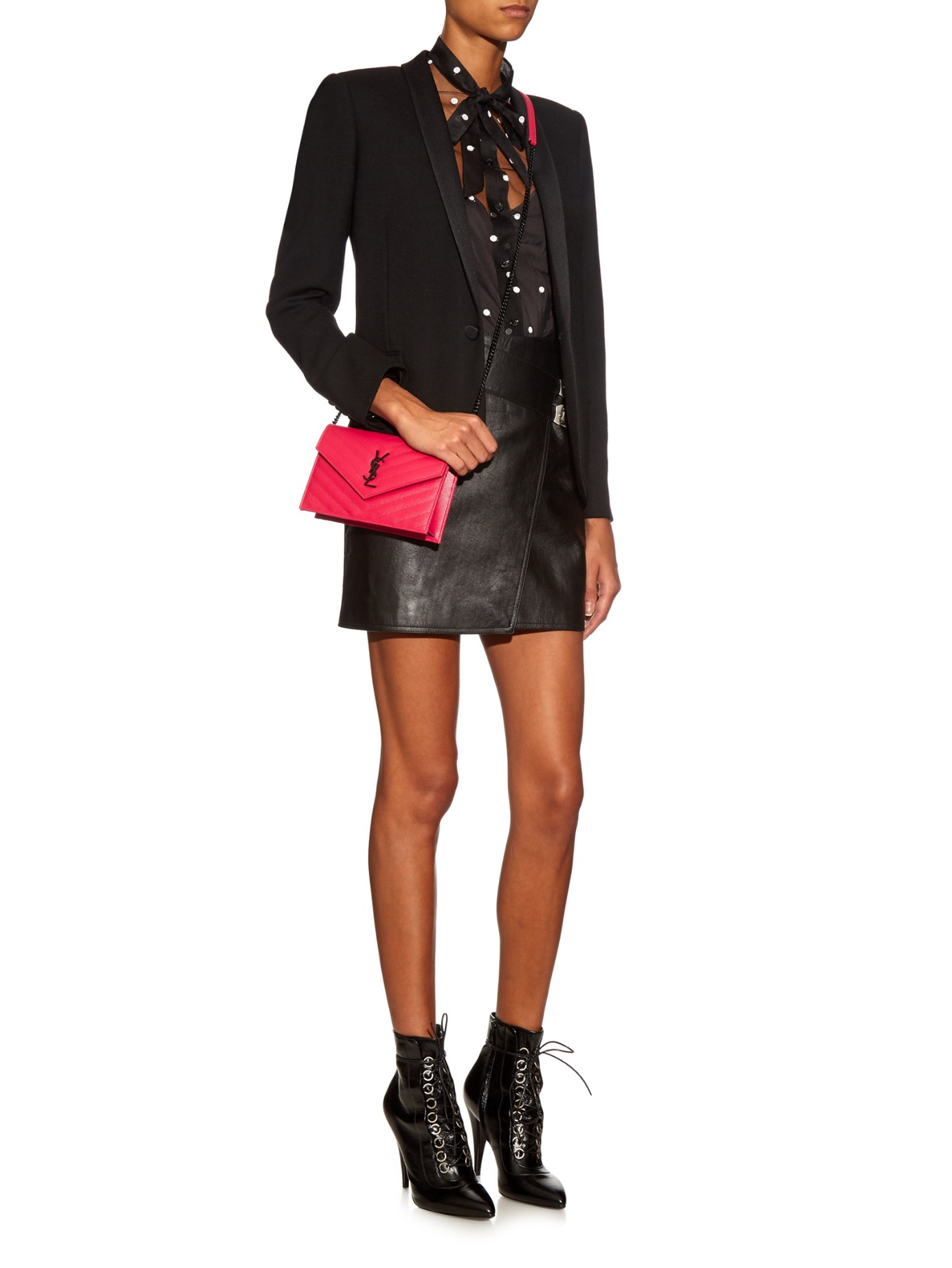 Lyst - Saint Laurent Monogram Quilted-Leather Cross-body Bag in Pink 6098c4a4d9fbc