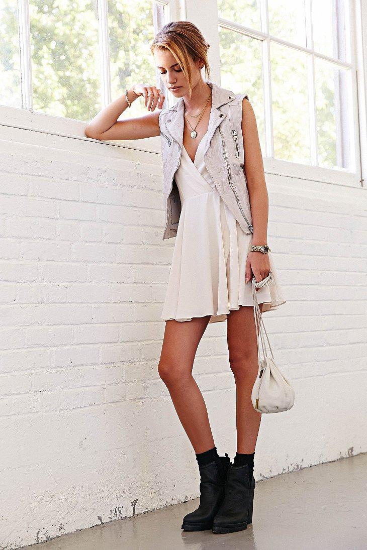 1e96ea7945 Sparkle   Fade Strappy Chiffon Skater Dress in White - Lyst