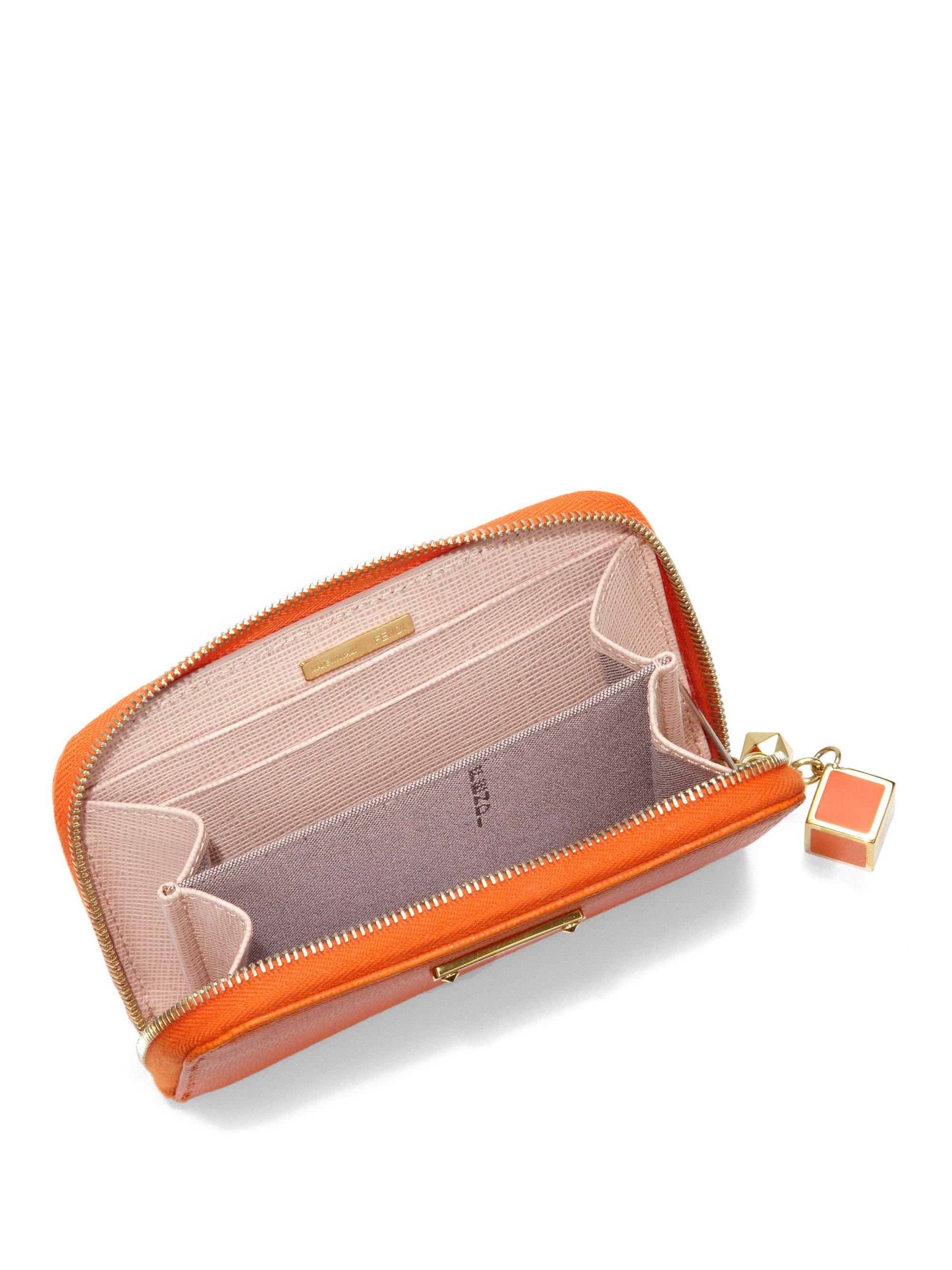 new arrival ba2b6 934c6 Fendi Orange Mini Saffiano Zip-around Card Case
