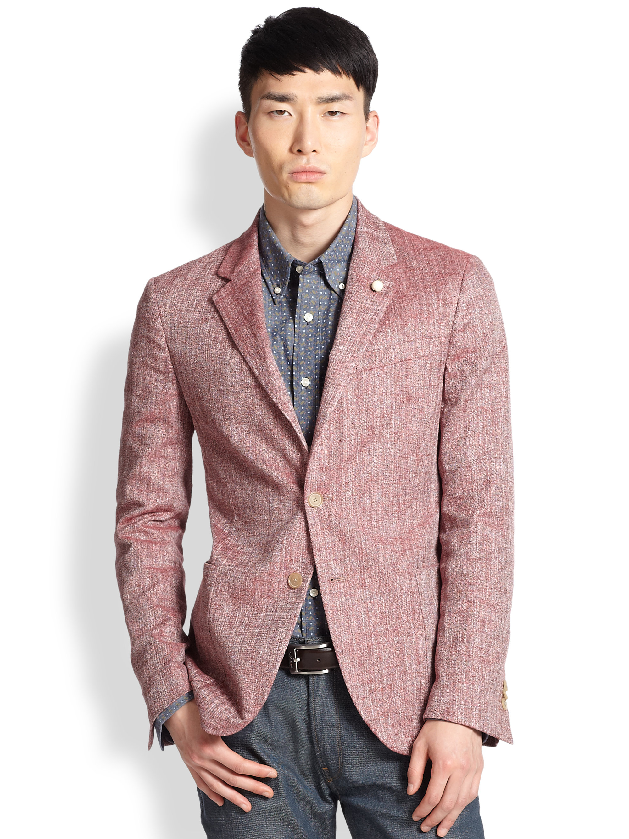 Atelier scotch Chambray Blazer in Red for Men | Lyst