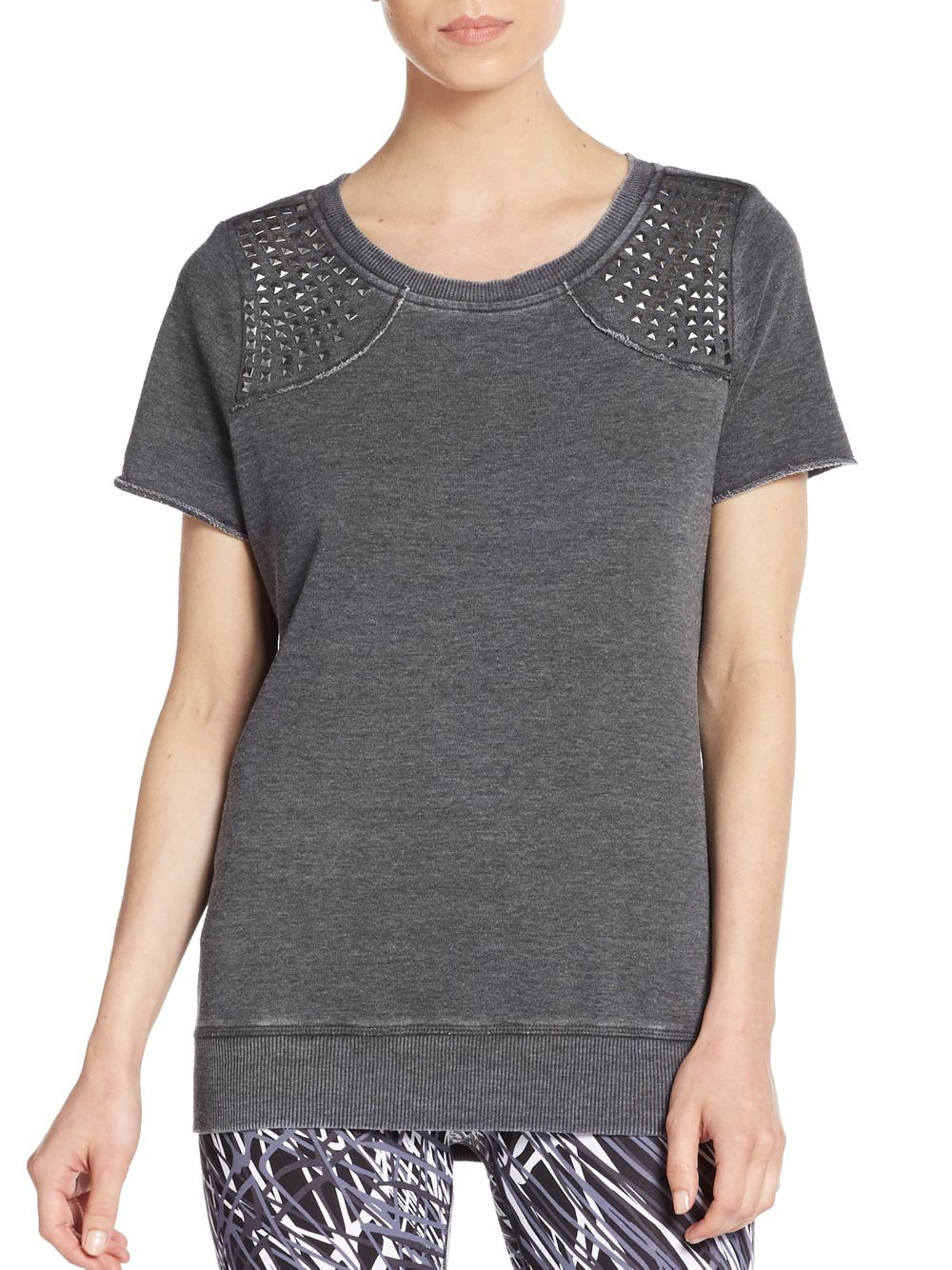 Marc new york stud accent short sleeve sweatshirt in gray for Thrilla in manila shirt under armour
