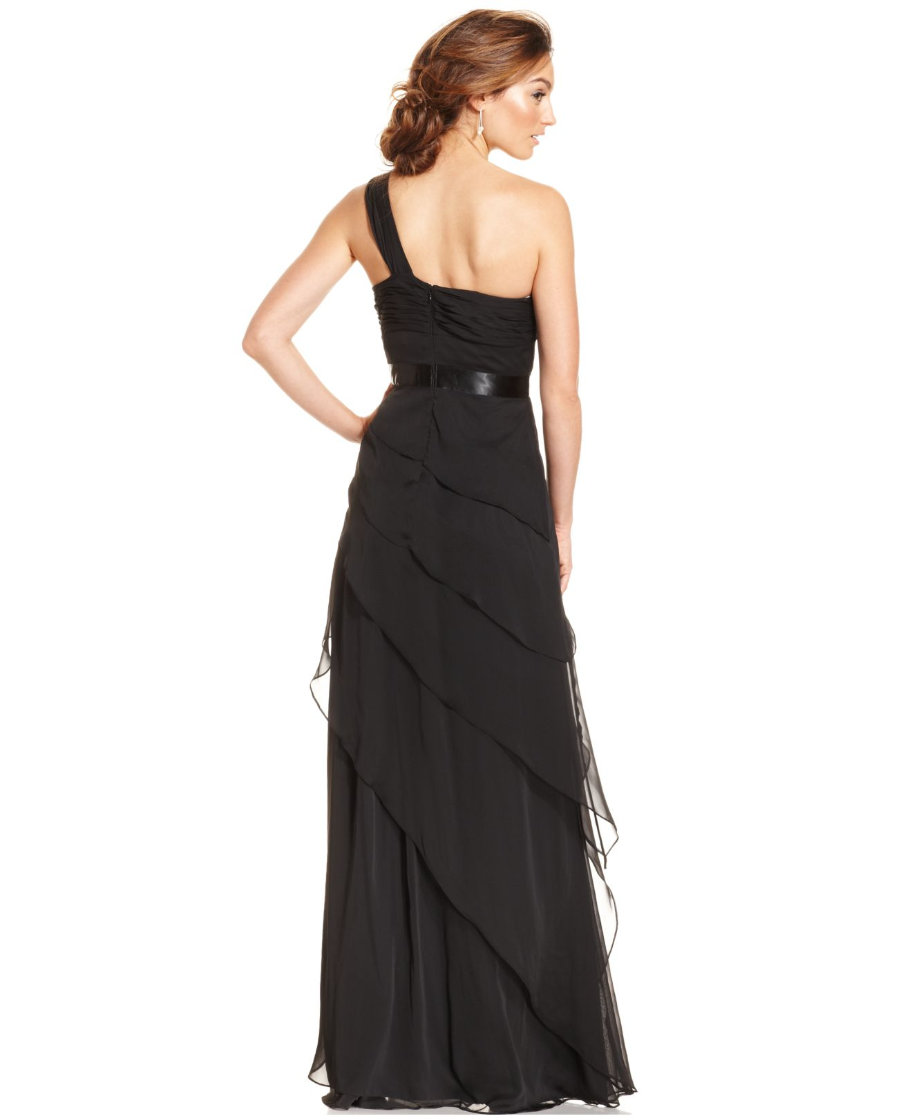 Adrianna papell Petite One-shoulder Tiered Chiffon Gown in Black ...