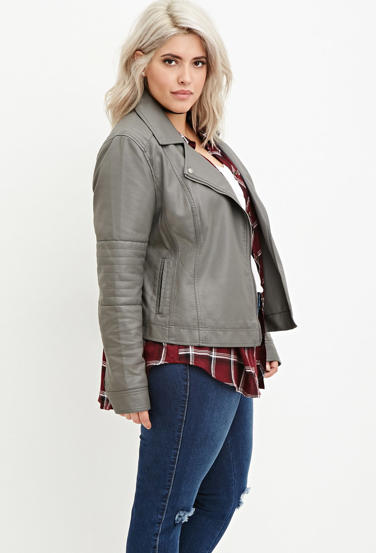 Forever 21 Plus Size Faux Leather Moto Jacket In Gray Lyst