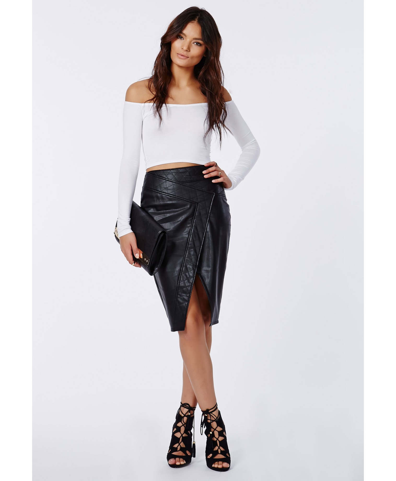 a6e756b3e5b65 Lyst - Missguided Carrisa Long Sleeve Jersey Bardot Crop Top White ...