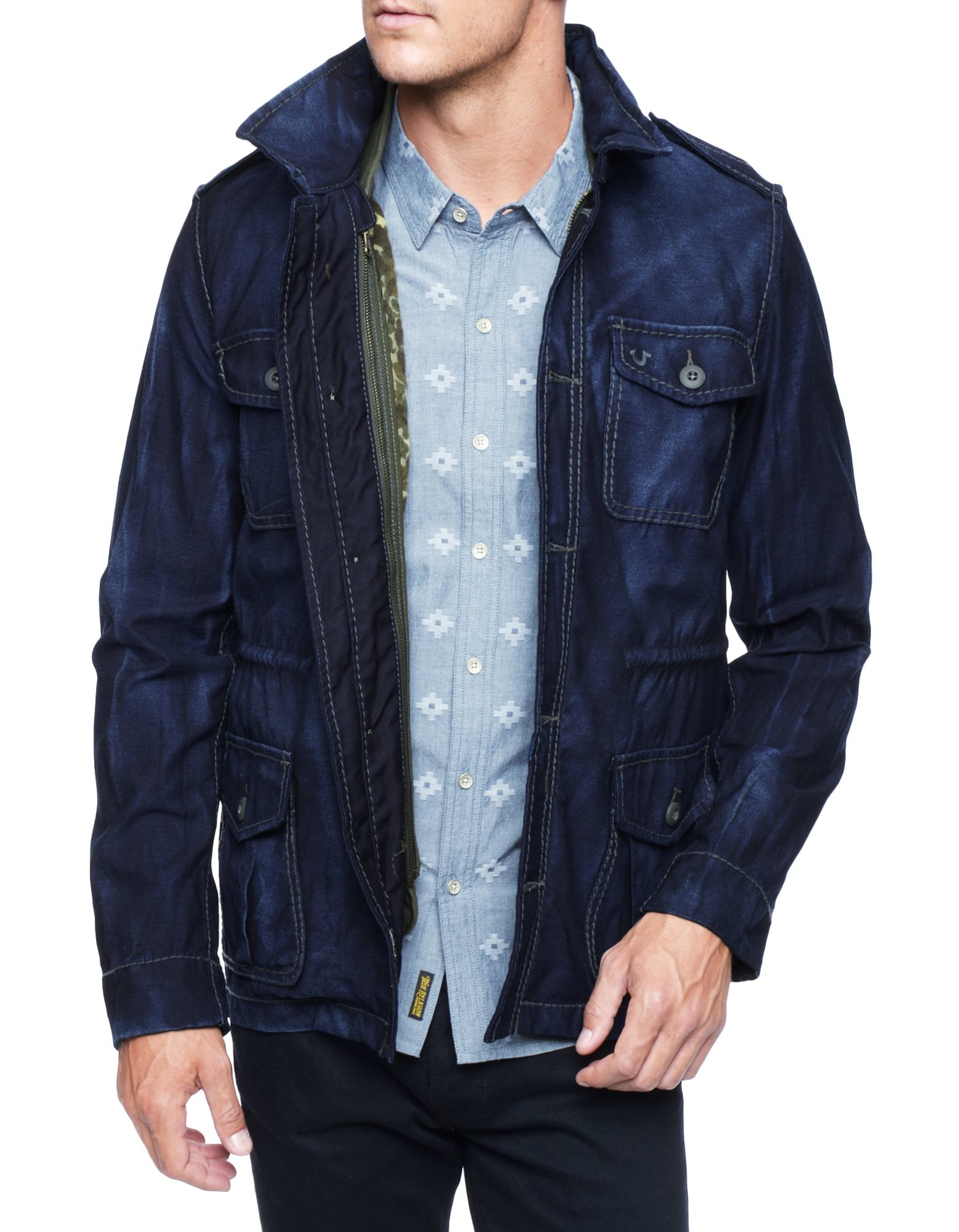 True Religion Denim Military Mens Jacket With Quilted Camo