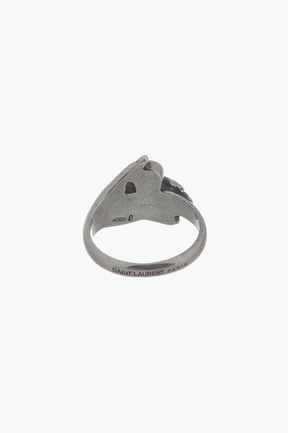 Lyst Saint Laurent Silver Wisdom Hand Onyx Ring In