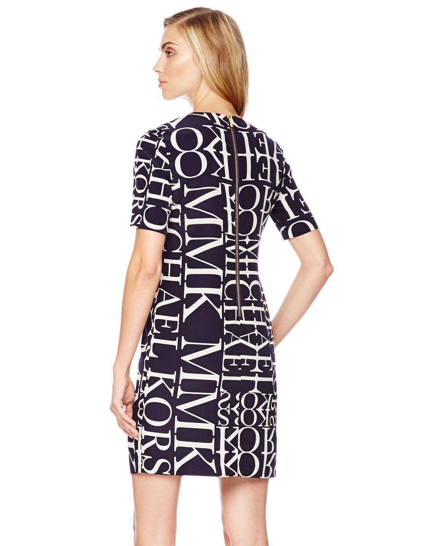 Lyst Michael Michael Kors Logoletter Knit Dress In Black