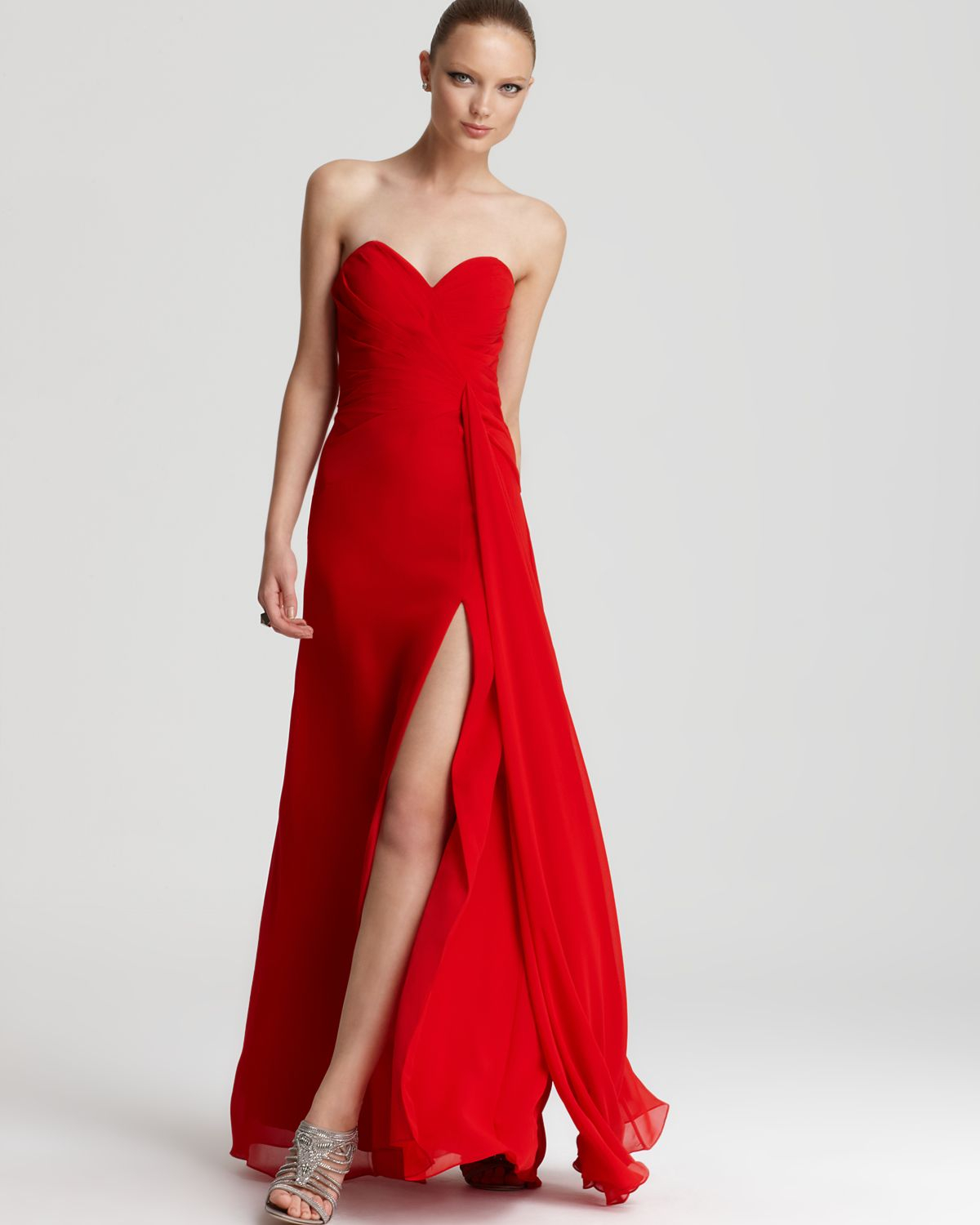 Faviana Couture Faviana Strapless Gown High Slit In Red