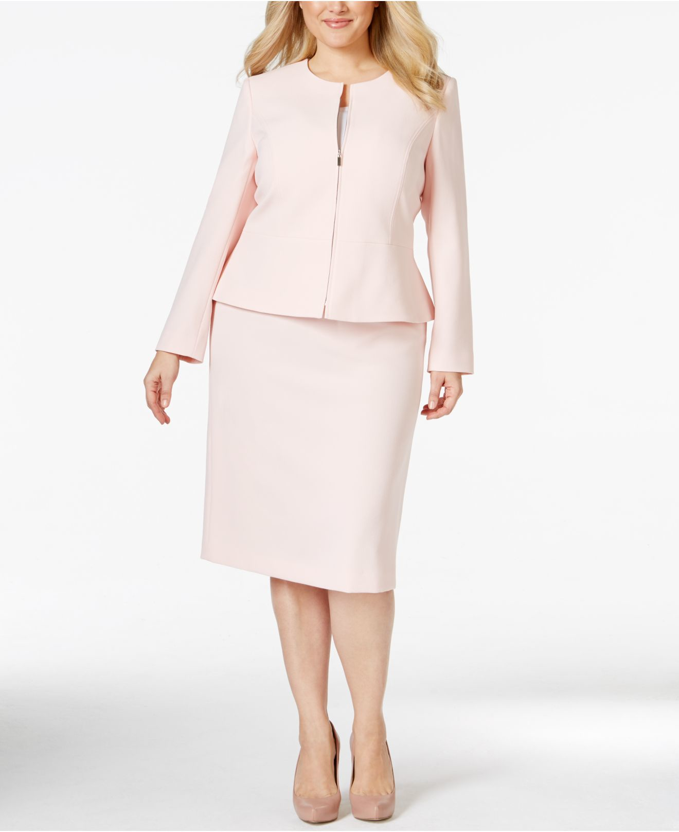 Plus Size Zip-front Peplum Skirt Suit