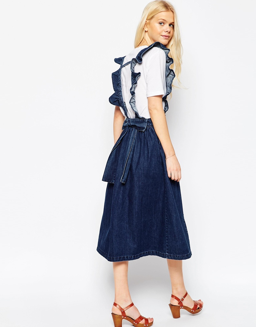 Asos Denim Full Midi Skirt With Ruffle Braces in Blue | Lyst