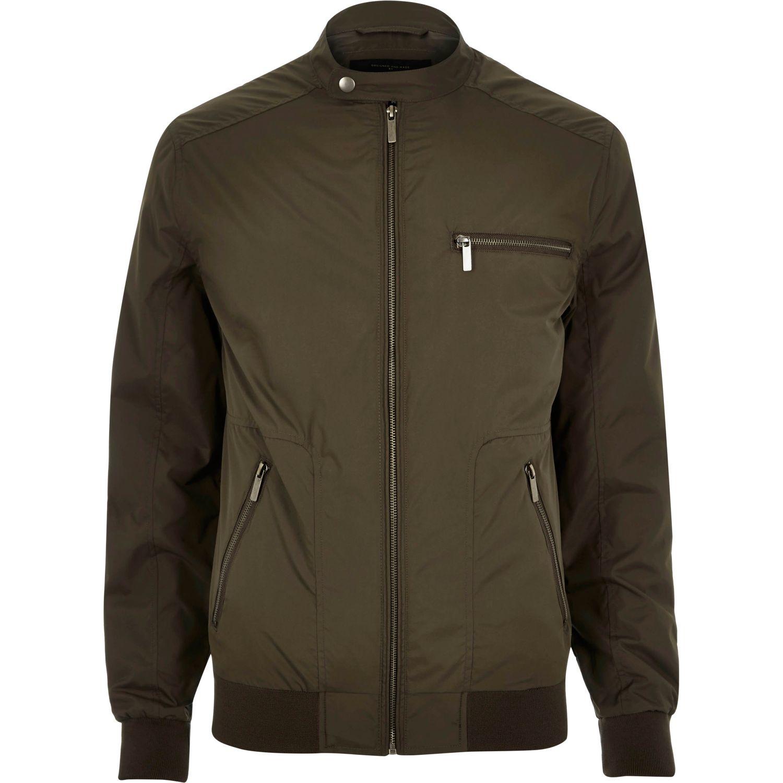 river island khaki green popper collar racer jacket in green for men lyst. Black Bedroom Furniture Sets. Home Design Ideas