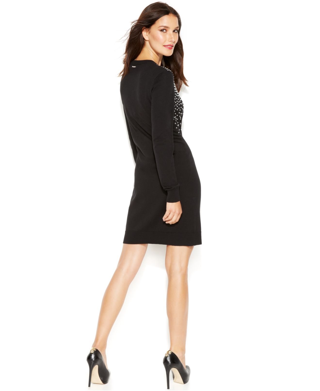 ca0ad542dc2 Lyst - Michael Kors Michael Petite Long-Sleeve Studded Sweater Dress ...