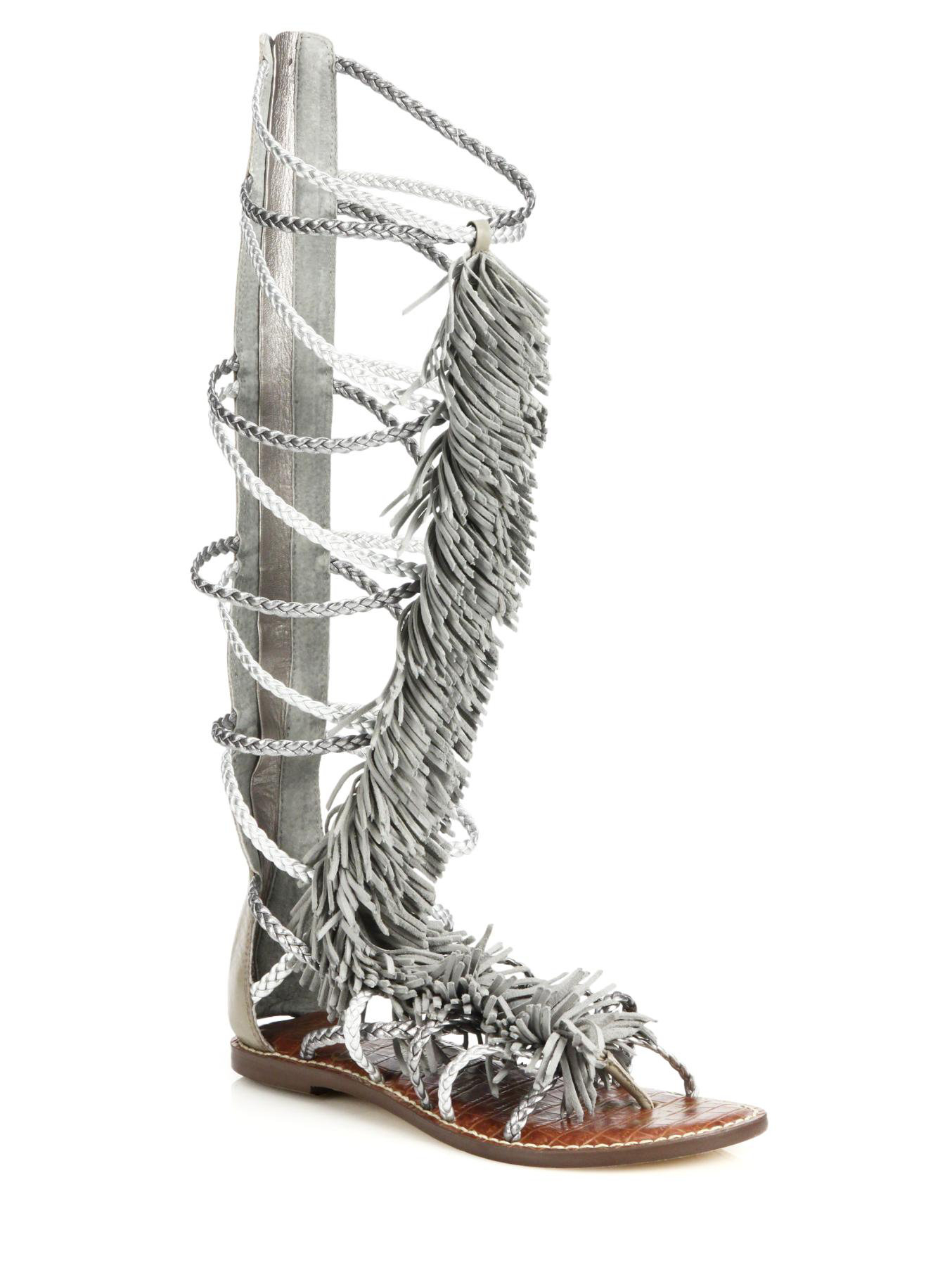 2bc8f635e785a Lyst - Sam Edelman Gia Knee-High Fringed Metallic Leather Sandals in ...