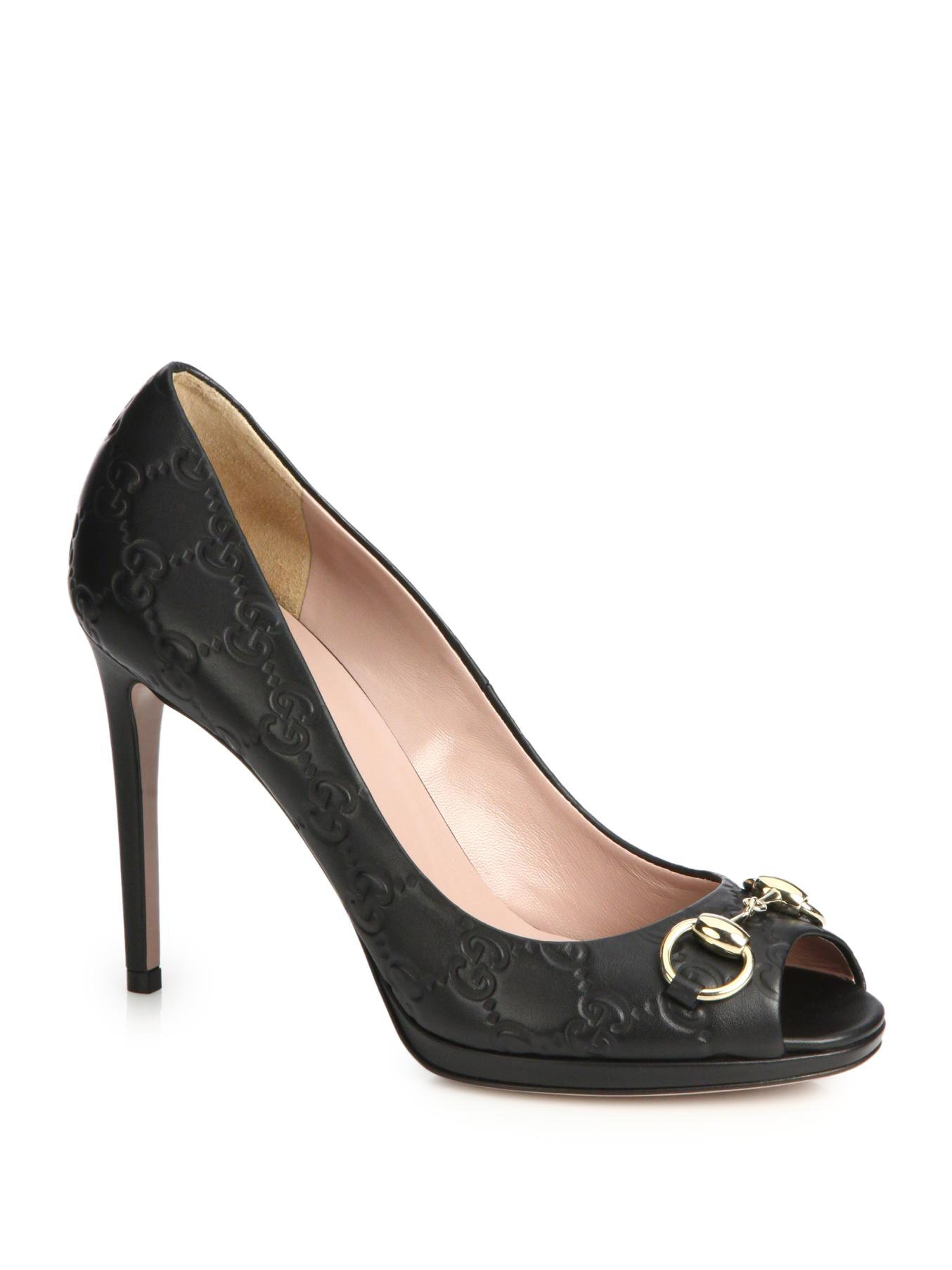 c01a89899c3a7 Gucci Black Gisele Monogram-embossed Leather Peep-toe Pumps